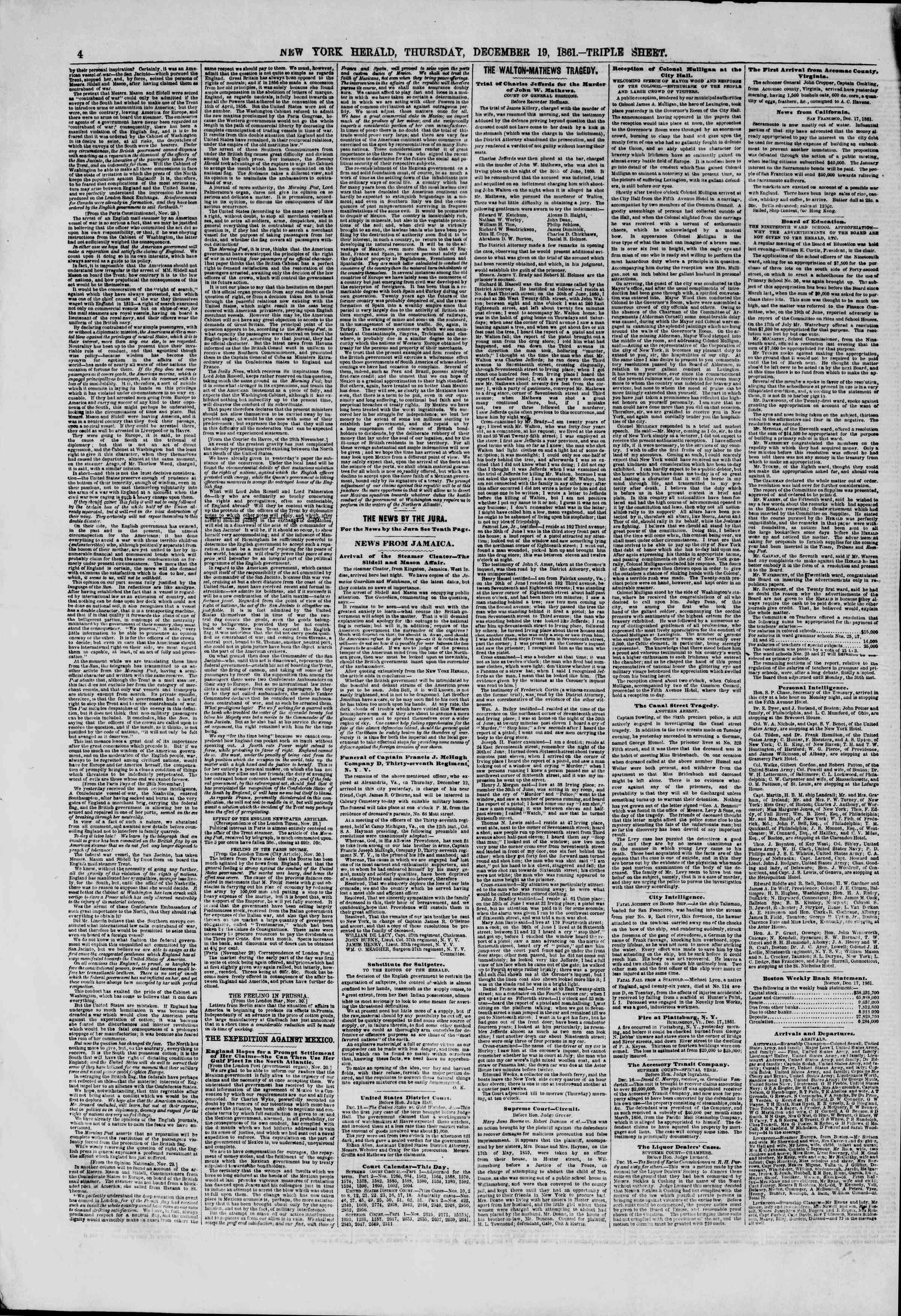 Newspaper of The New York Herald dated December 19, 1861 Page 4