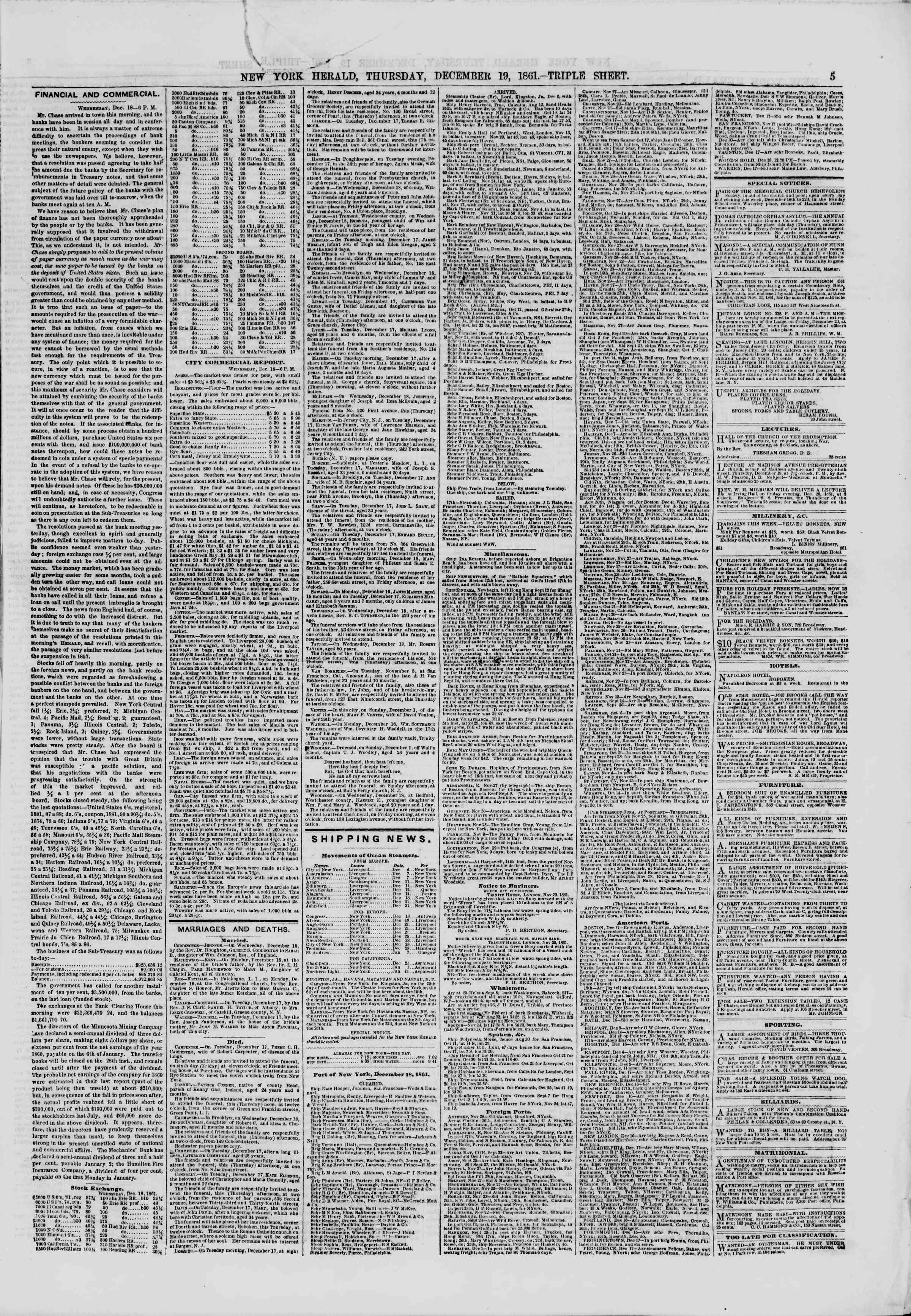 Newspaper of The New York Herald dated December 19, 1861 Page 5