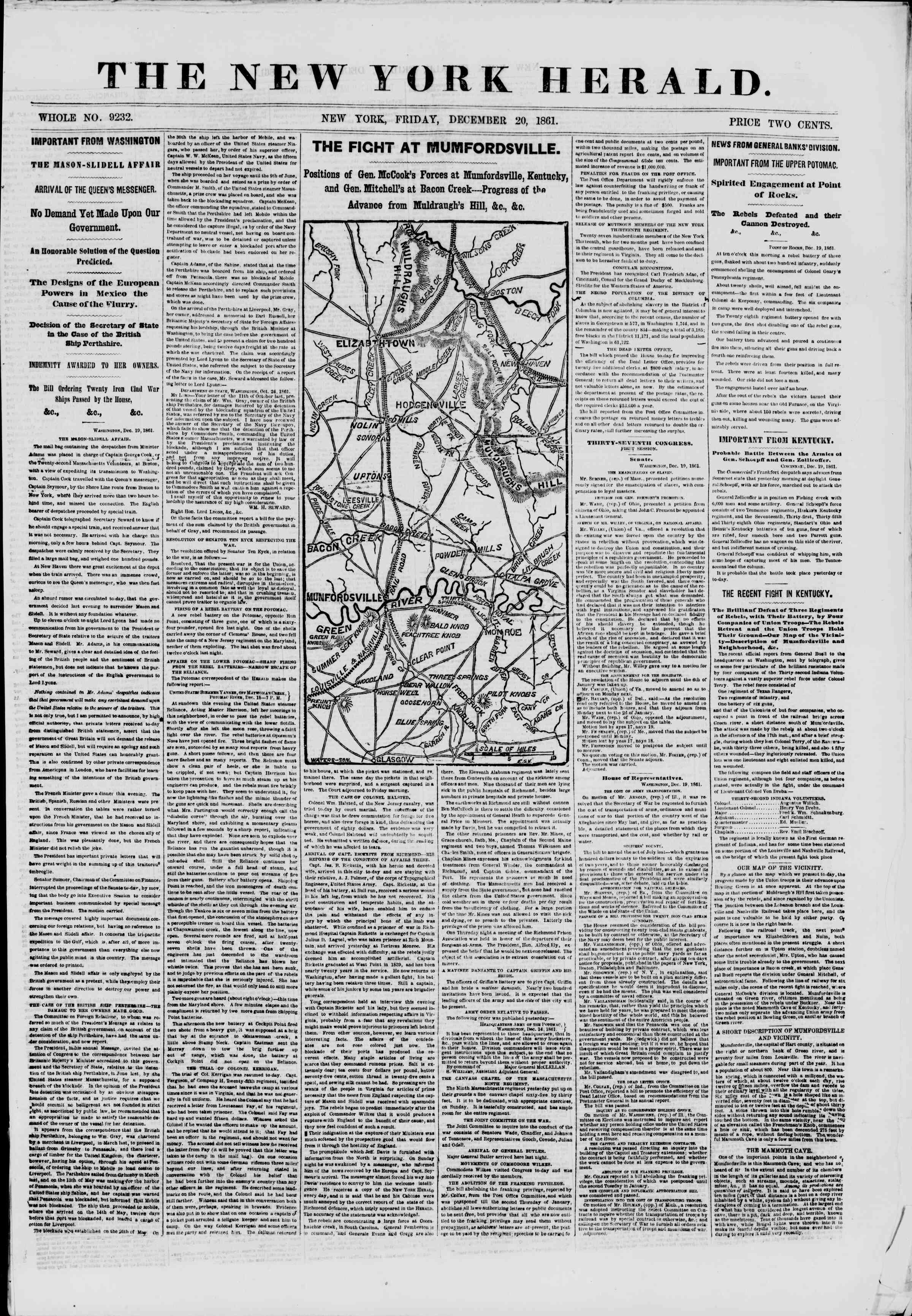 Newspaper of The New York Herald dated December 20, 1861 Page 1