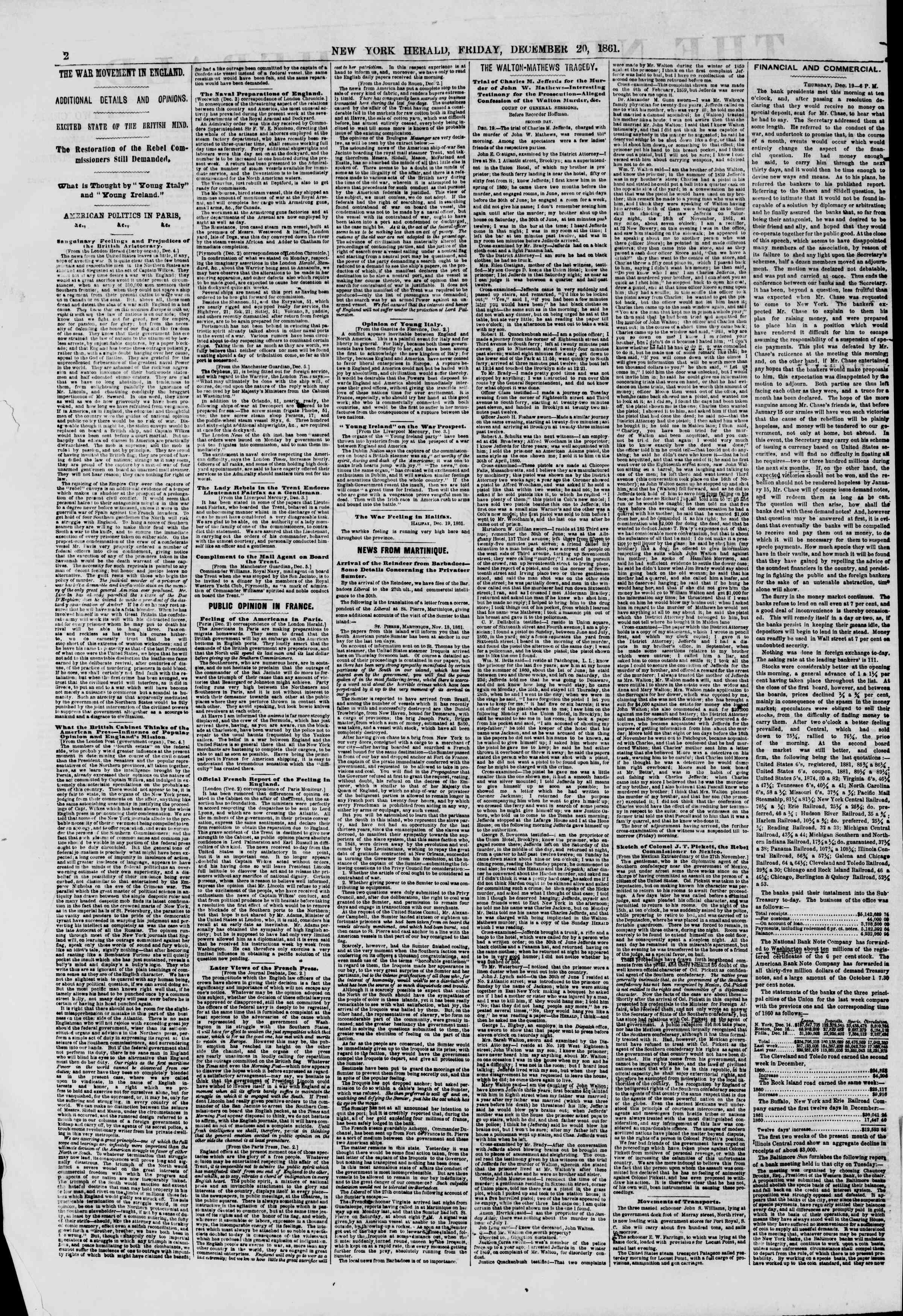 Newspaper of The New York Herald dated December 20, 1861 Page 2