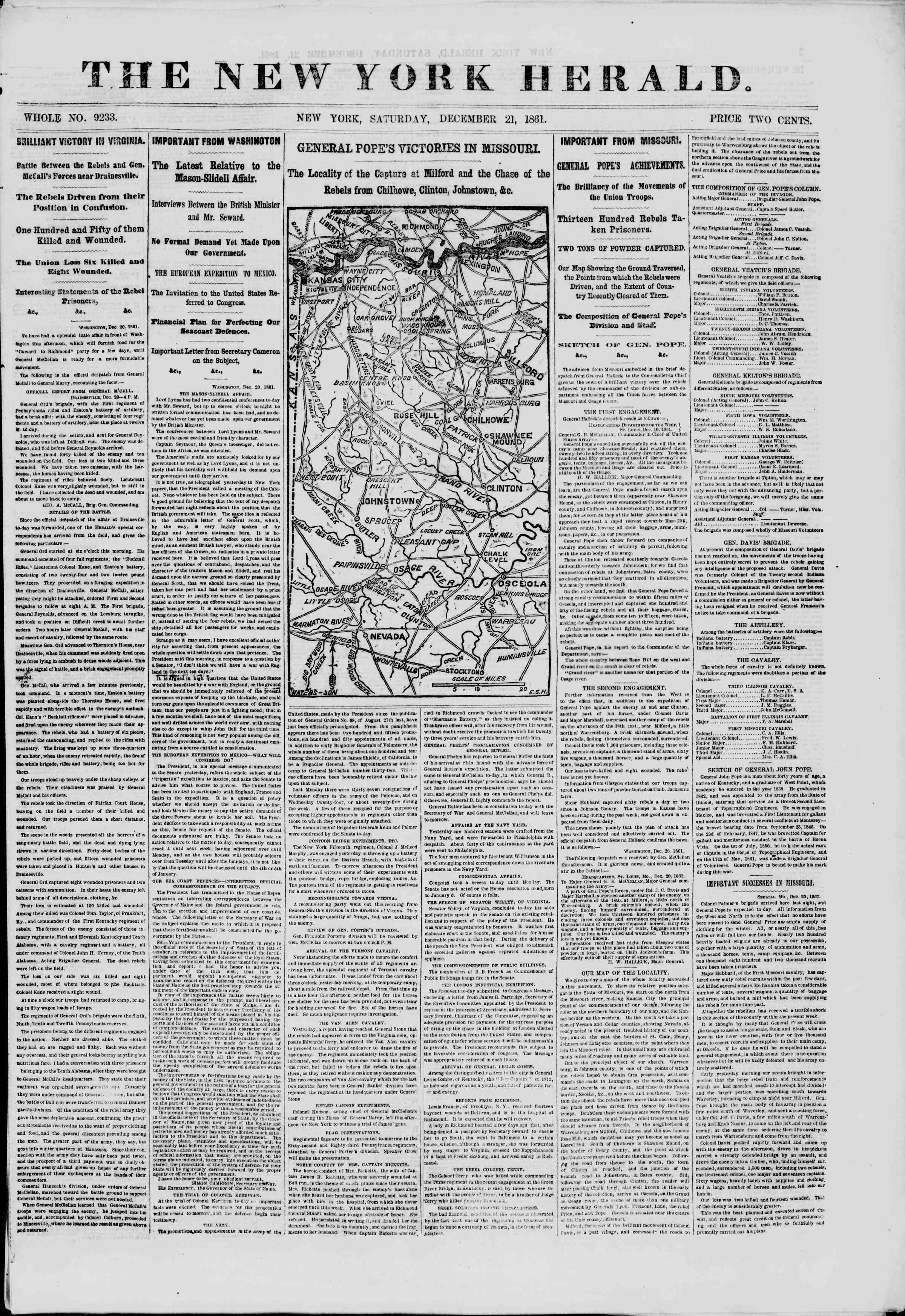 Newspaper of The New York Herald dated December 21, 1861 Page 1