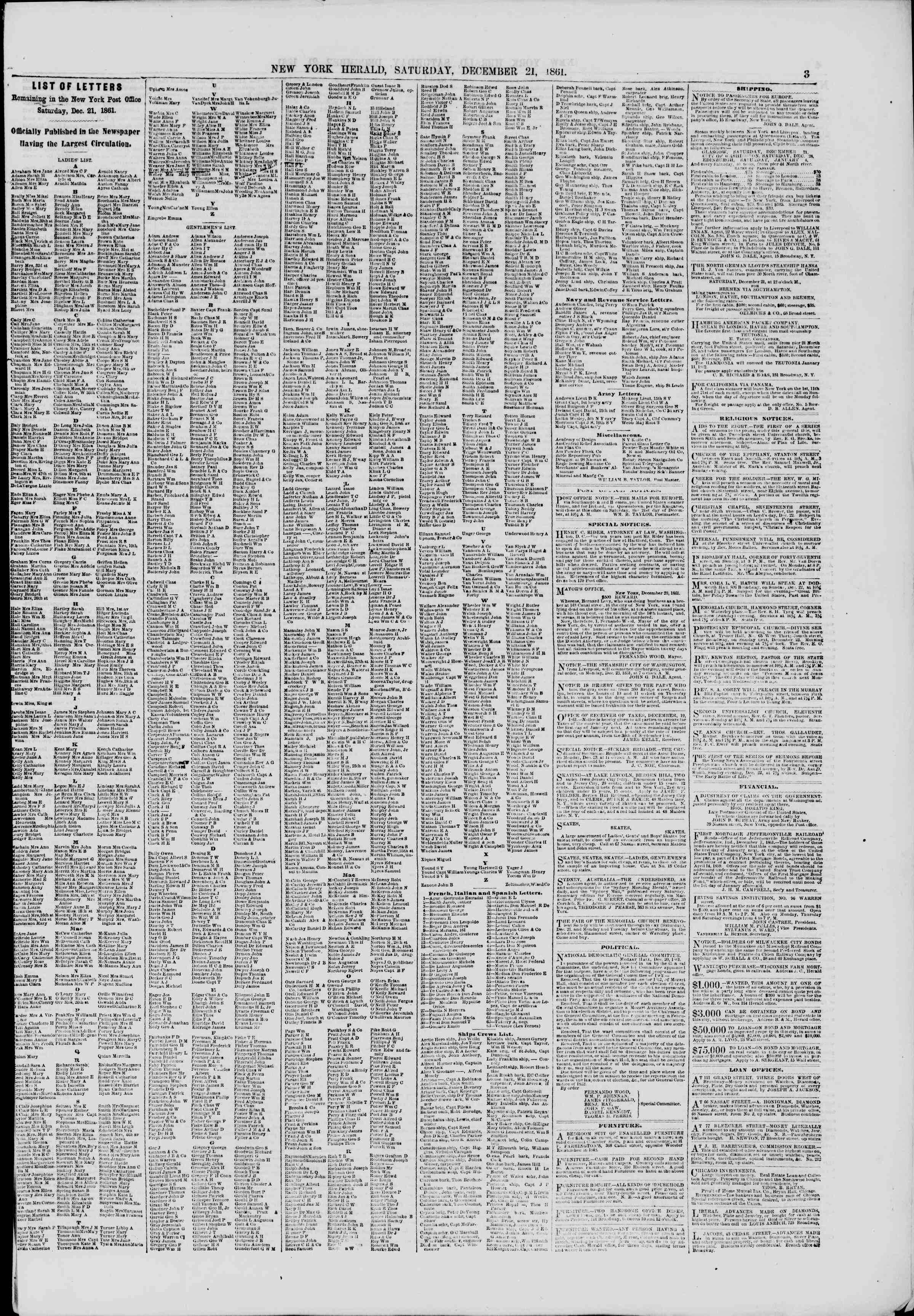 Newspaper of The New York Herald dated December 21, 1861 Page 3