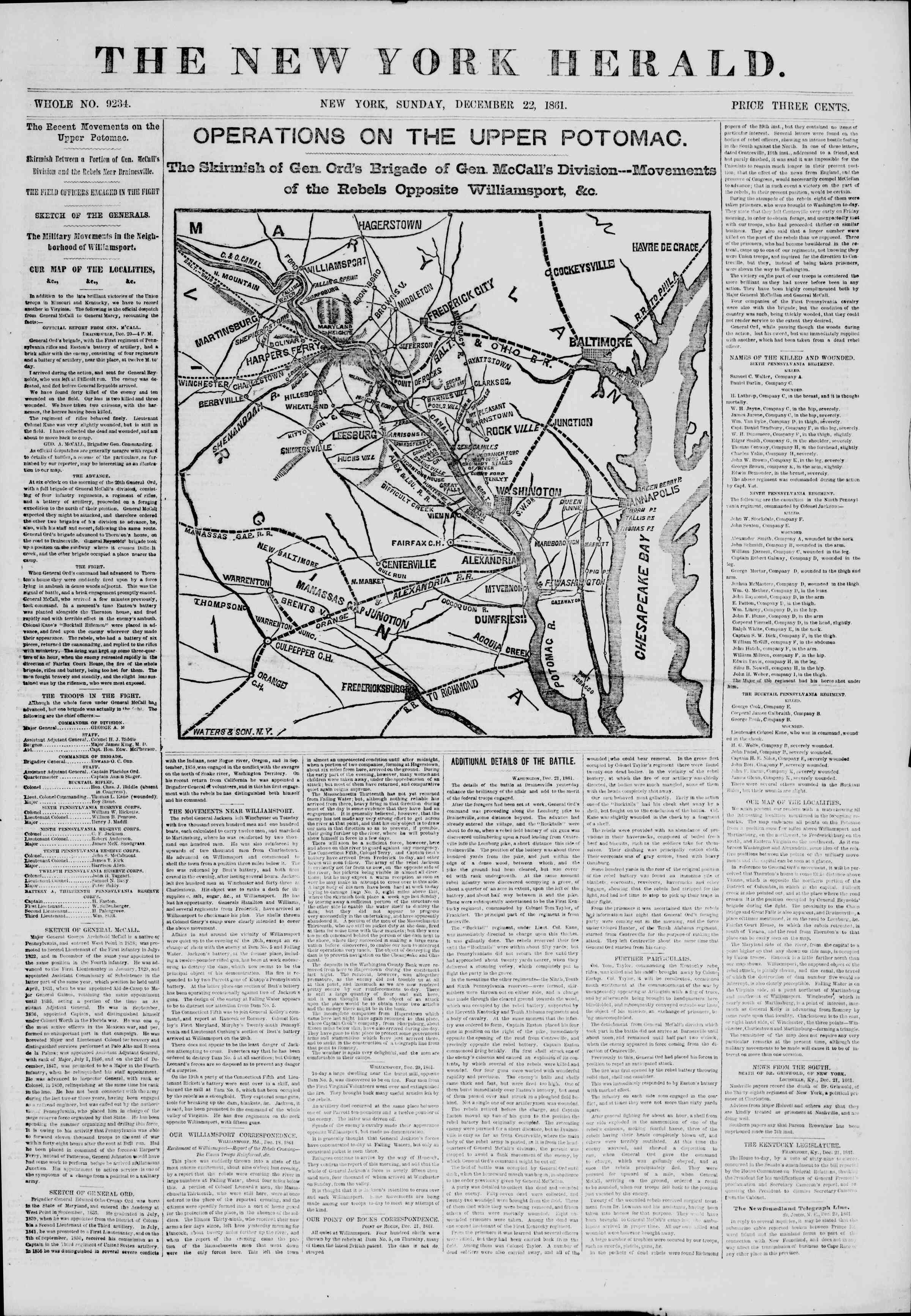 Newspaper of The New York Herald dated December 22, 1861 Page 1