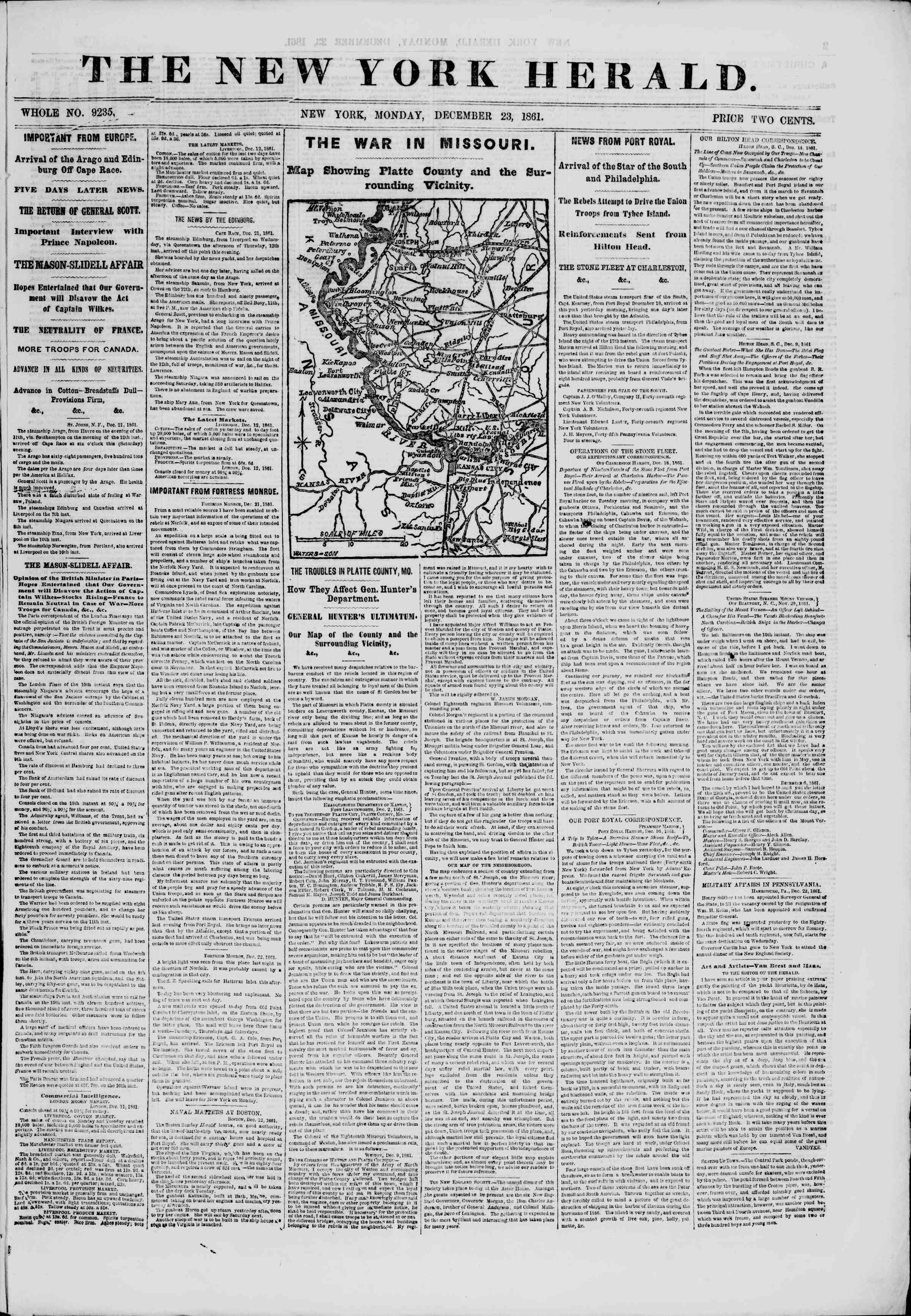 Newspaper of The New York Herald dated December 23, 1861 Page 1