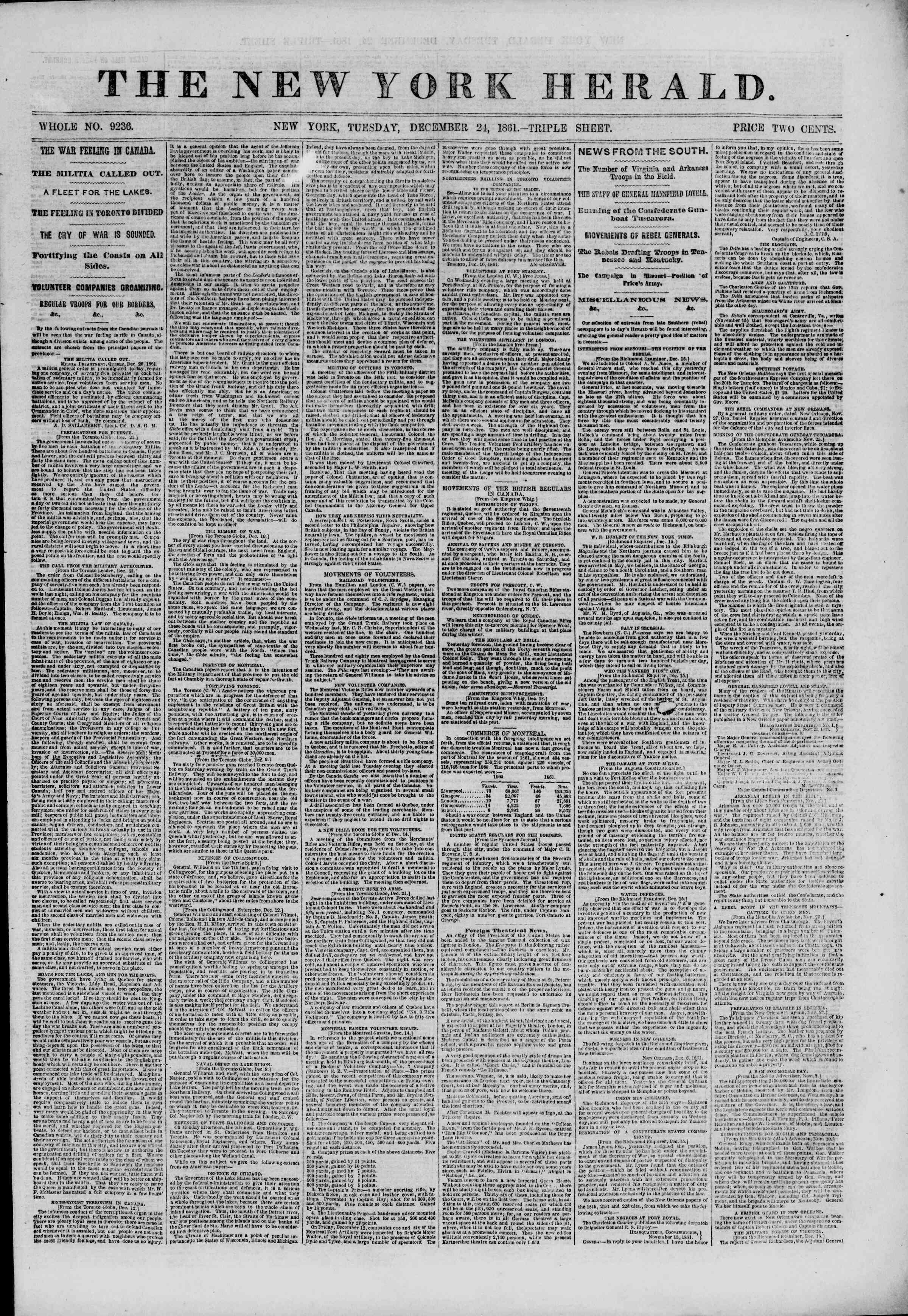 Newspaper of The New York Herald dated December 24, 1861 Page 1