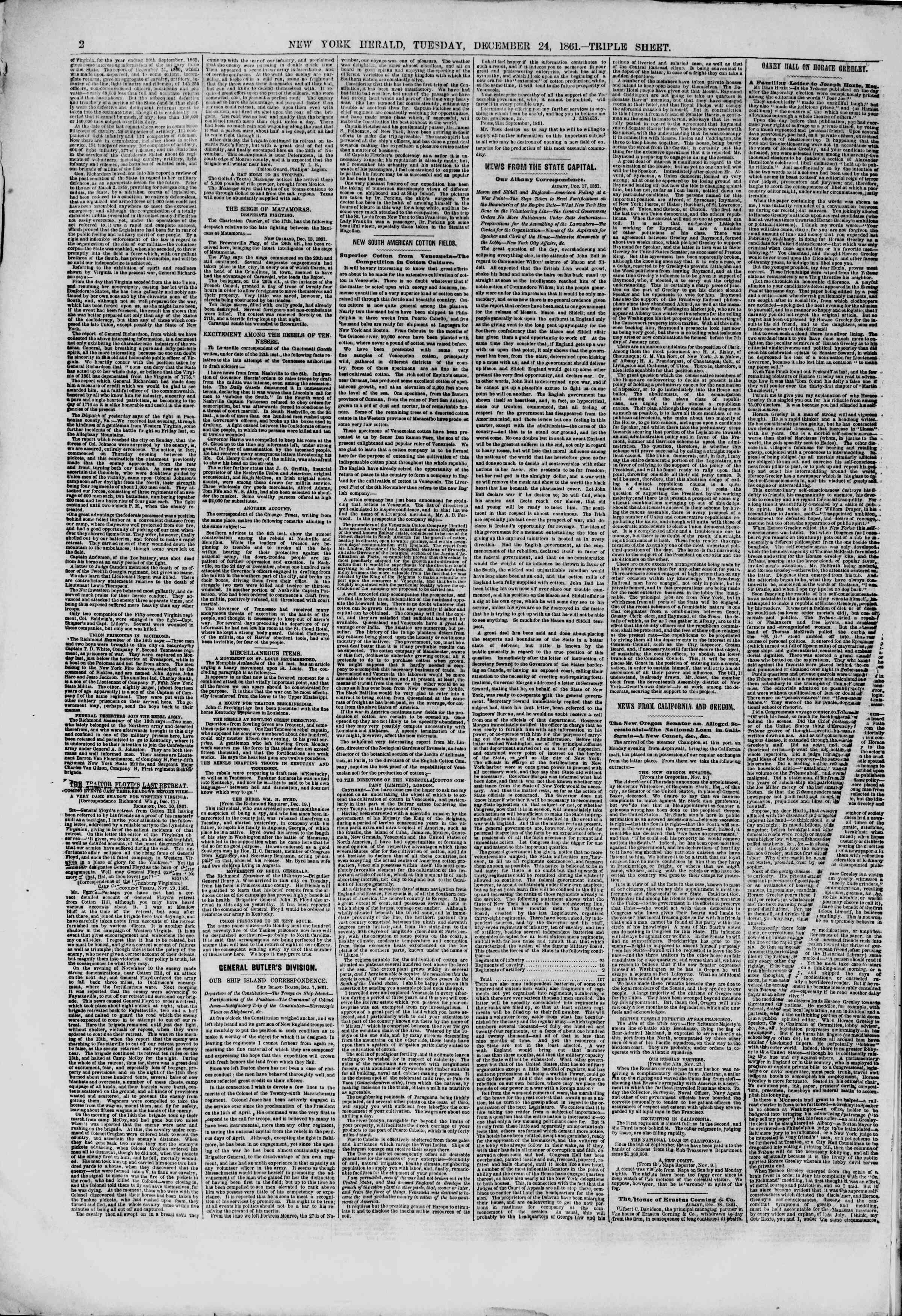 Newspaper of The New York Herald dated December 24, 1861 Page 2