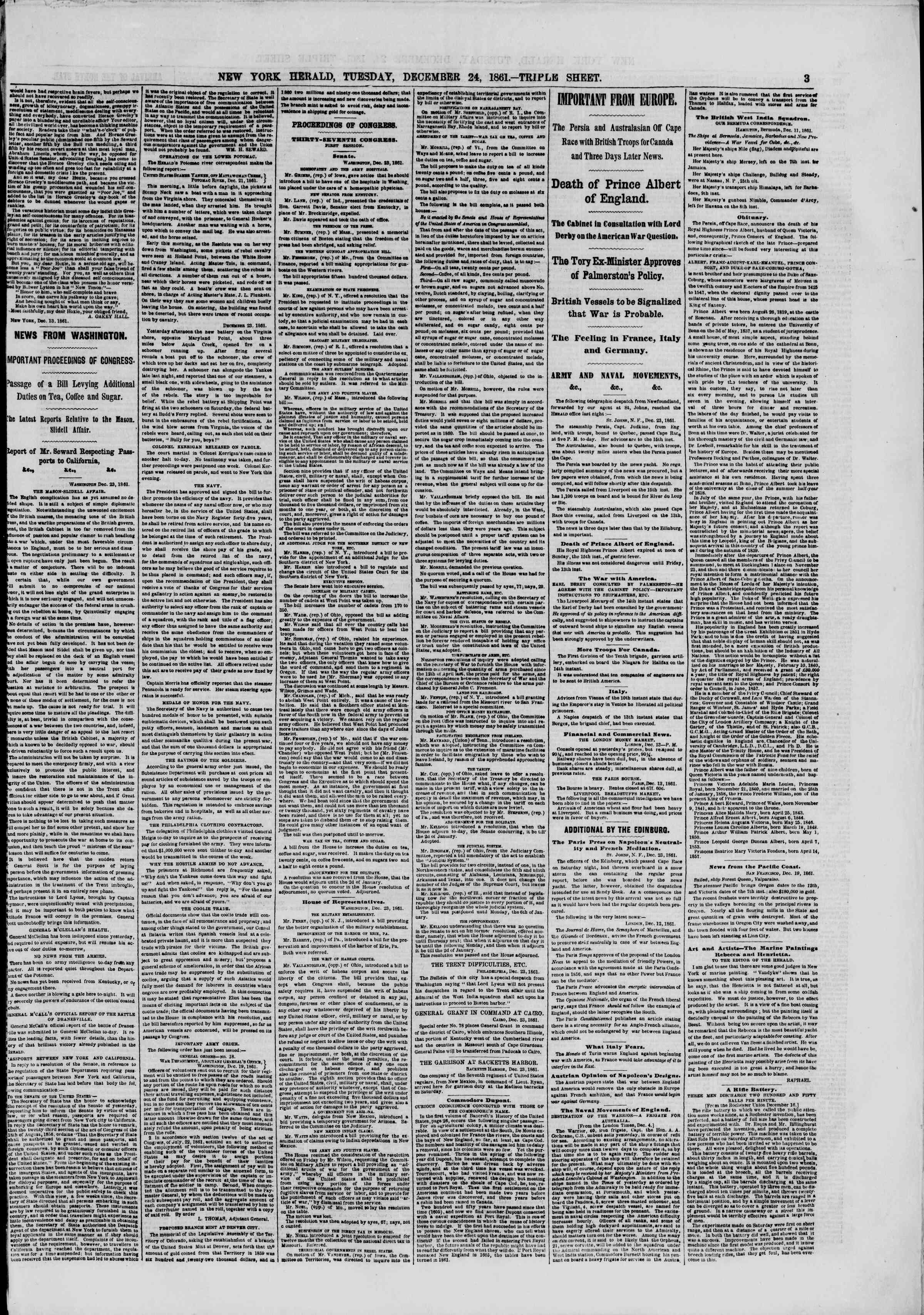 Newspaper of The New York Herald dated December 24, 1861 Page 3