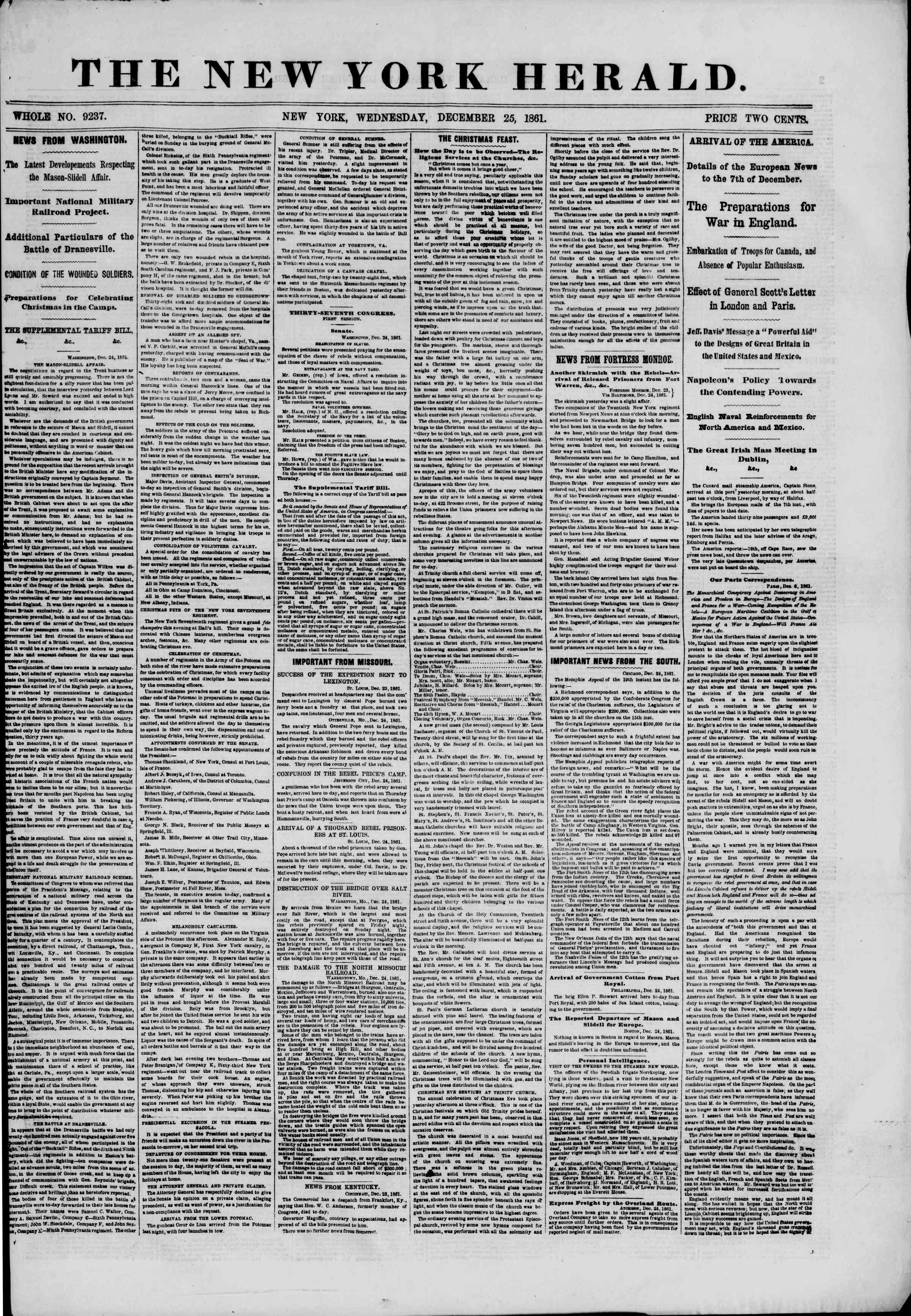 Newspaper of The New York Herald dated December 25, 1861 Page 1