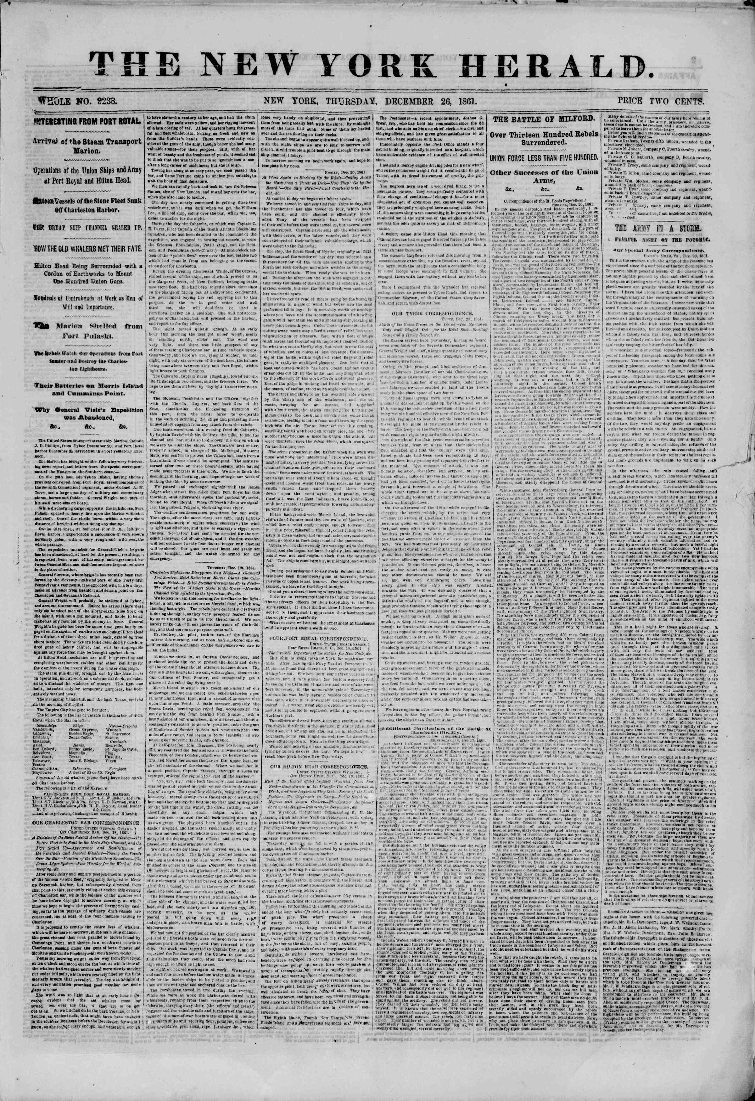 Newspaper of The New York Herald dated December 26, 1861 Page 1