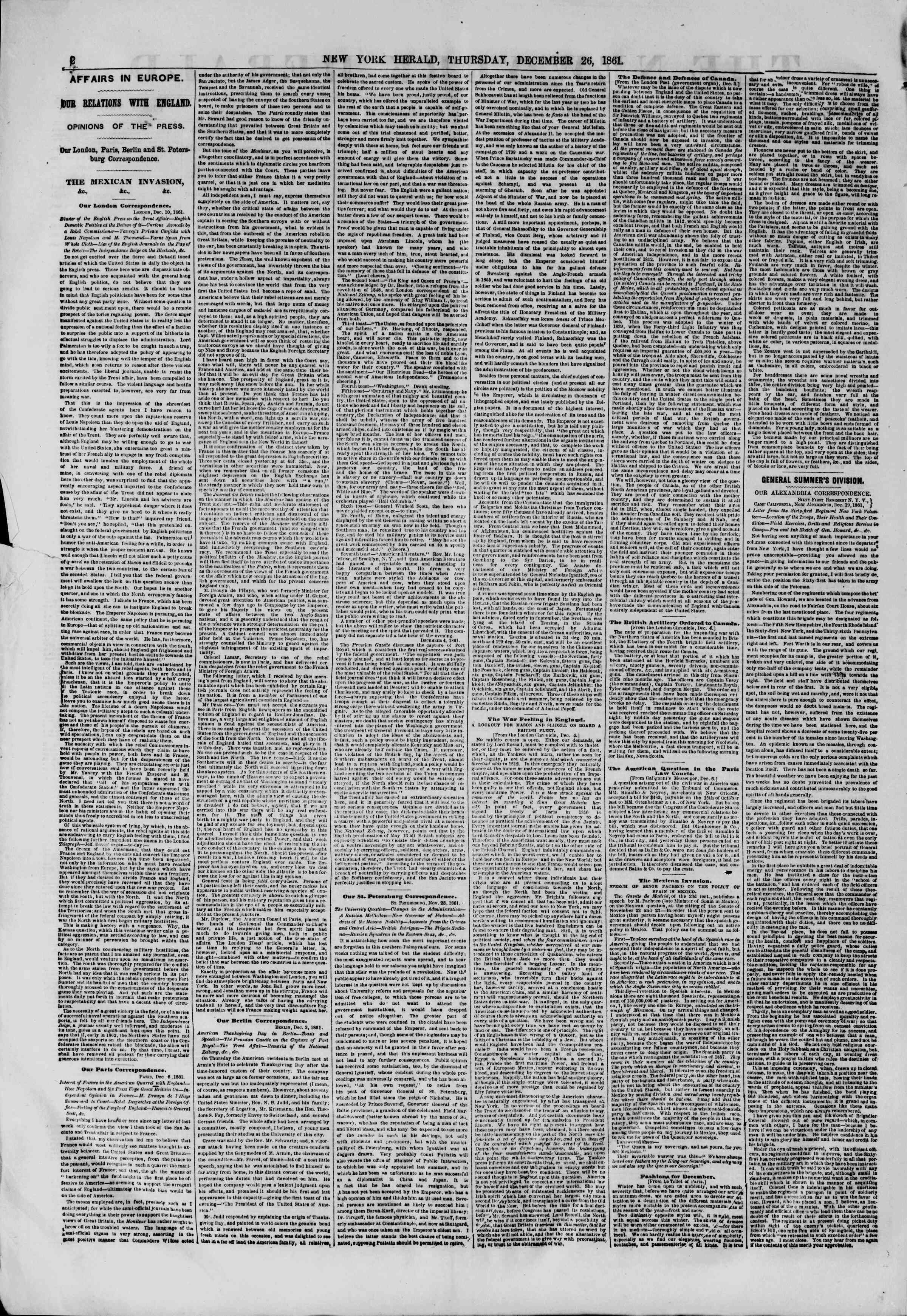 Newspaper of The New York Herald dated December 26, 1861 Page 2