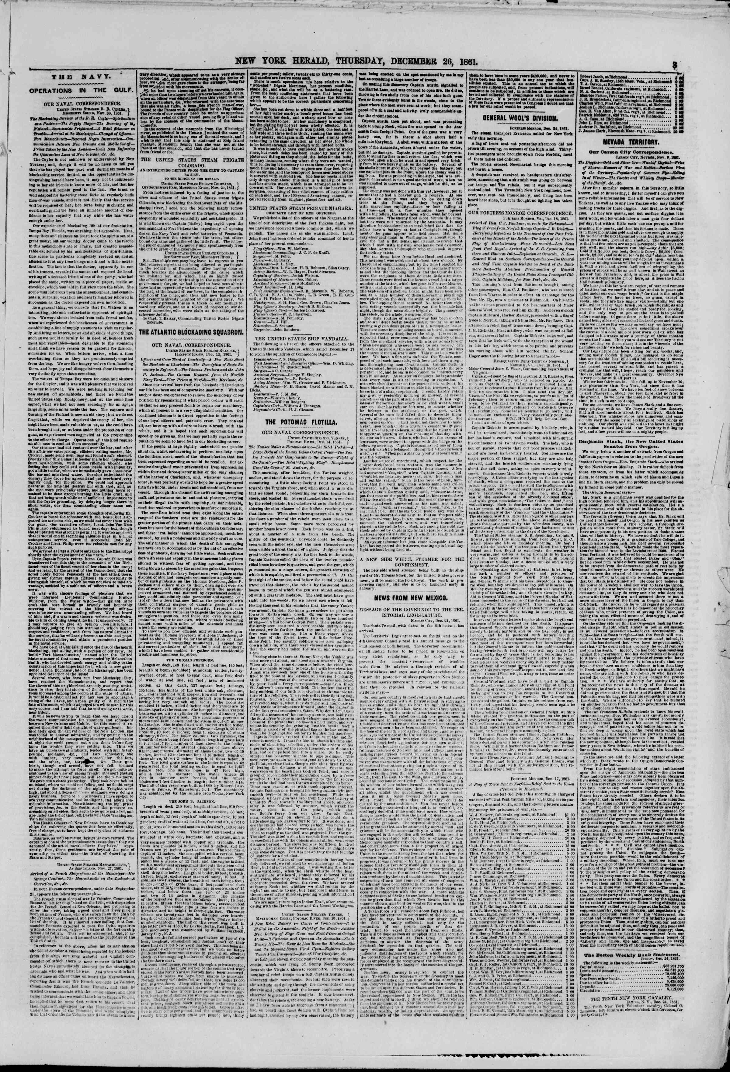 Newspaper of The New York Herald dated December 26, 1861 Page 3