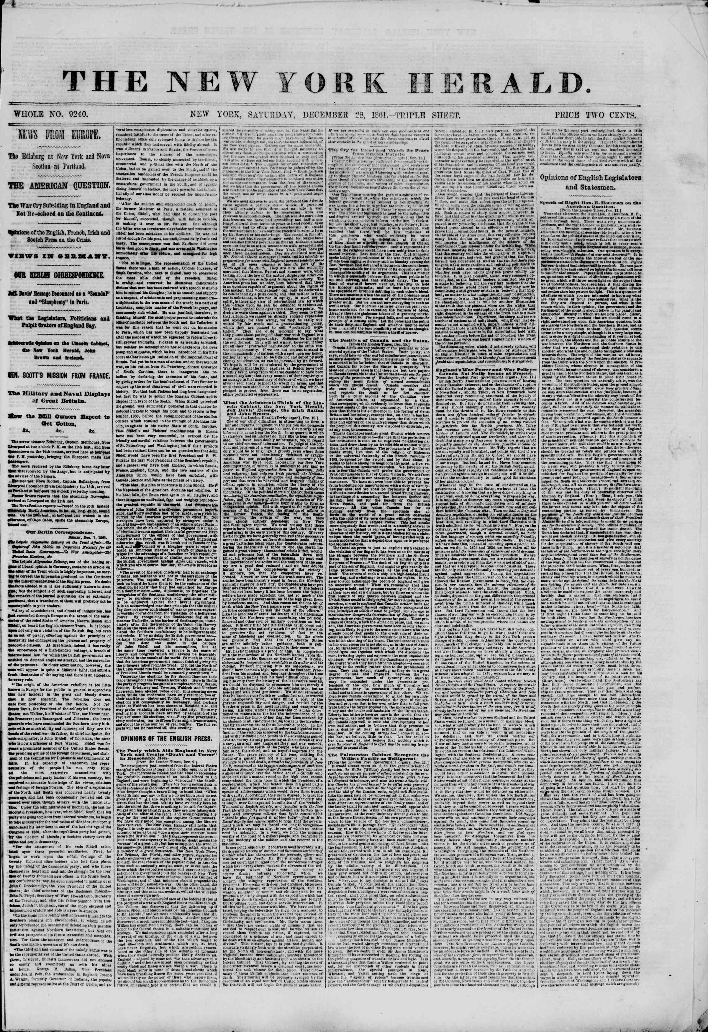 Newspaper of The New York Herald dated December 28, 1861 Page 1