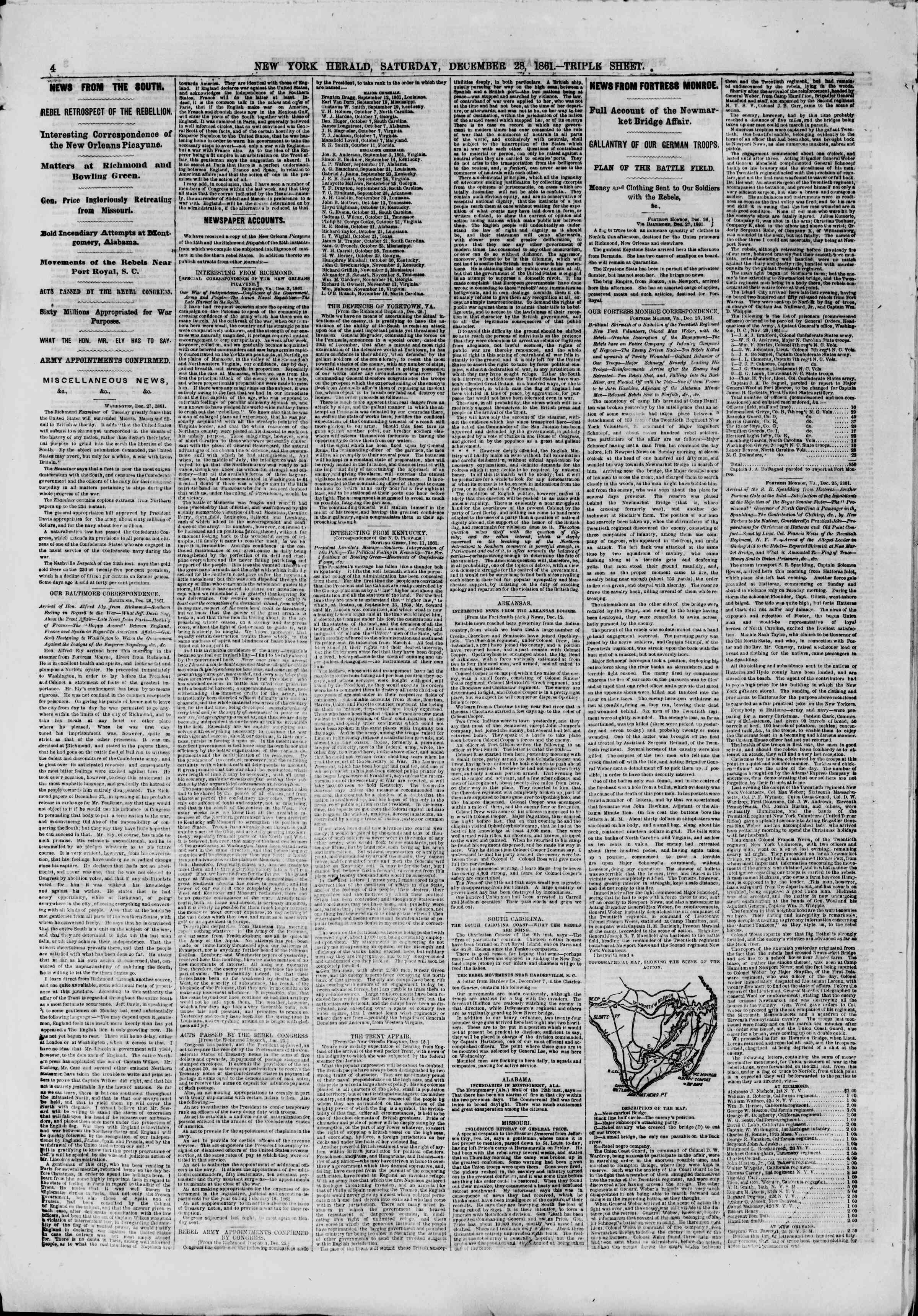 Newspaper of The New York Herald dated December 28, 1861 Page 4