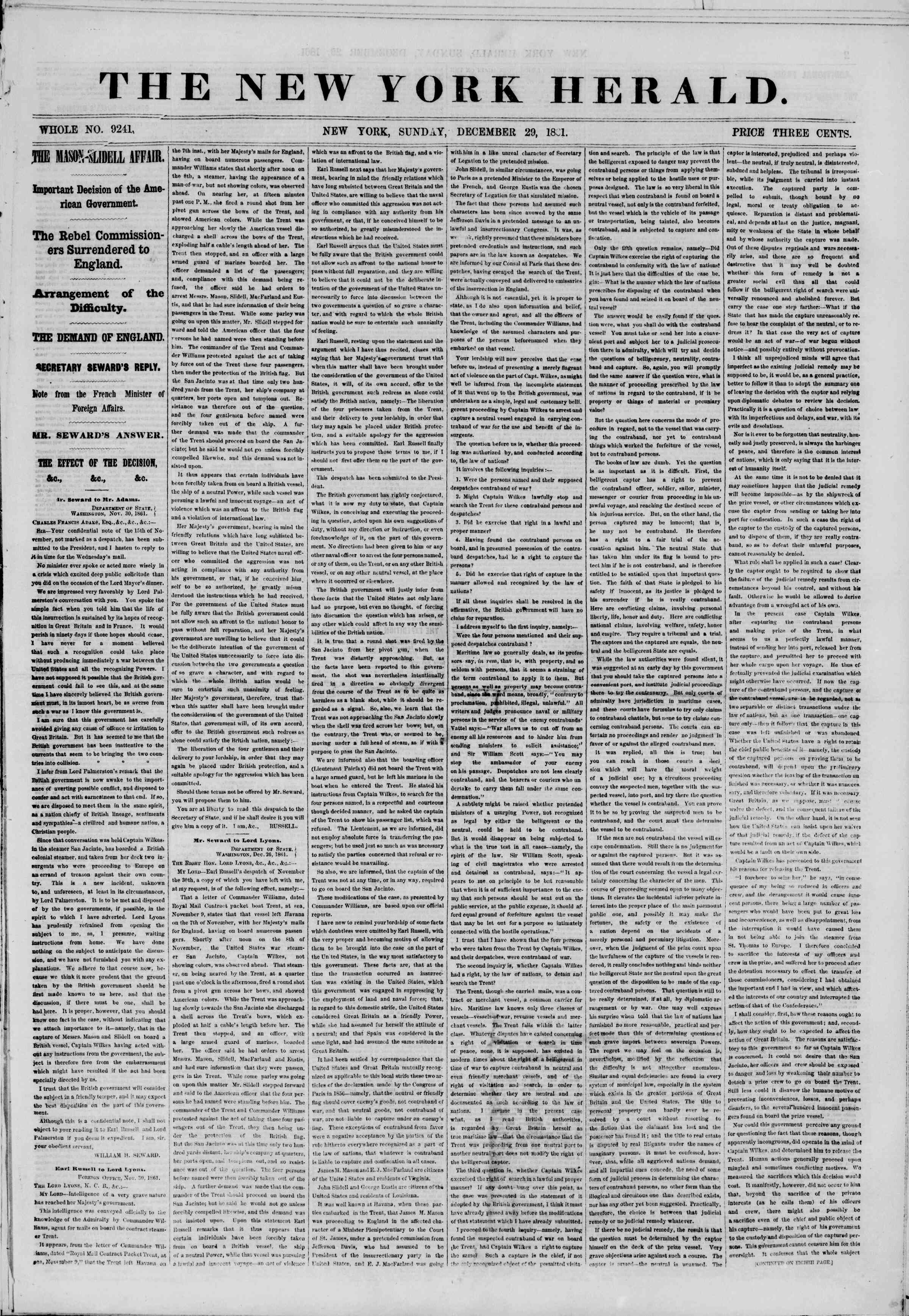 Newspaper of The New York Herald dated December 29, 1861 Page 1