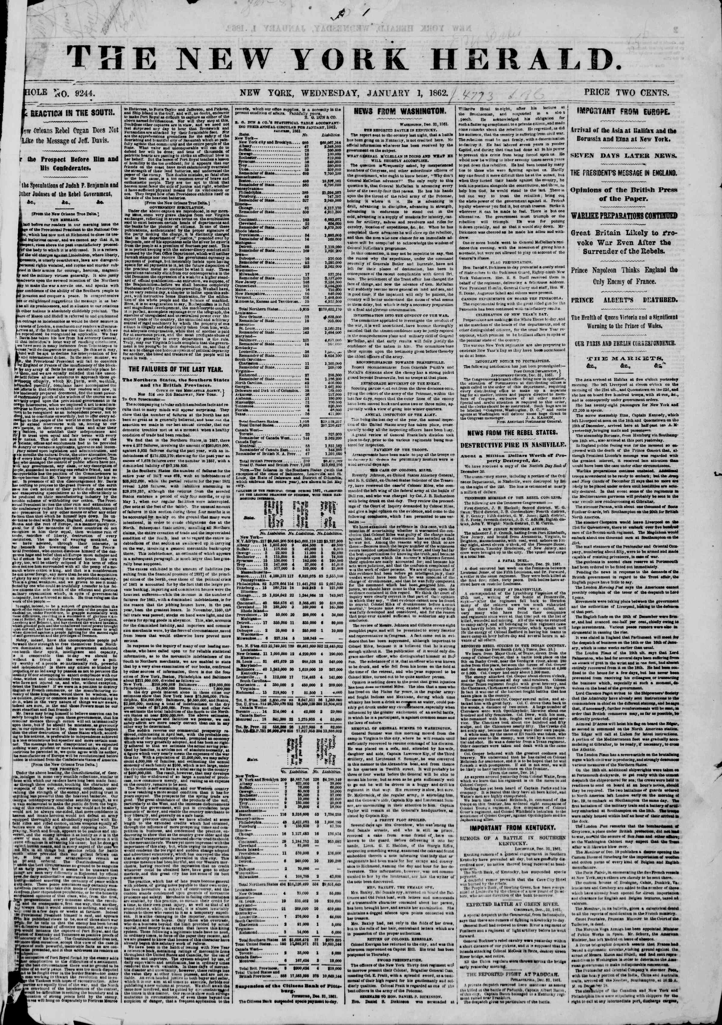 Newspaper of The New York Herald dated January 1, 1862 Page 1