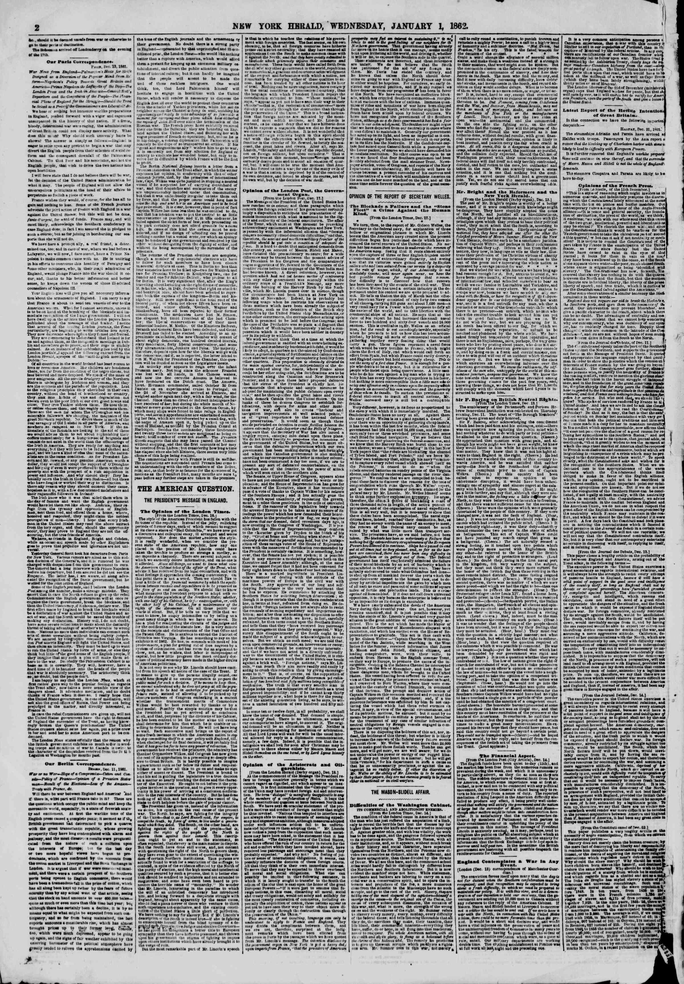 Newspaper of The New York Herald dated January 1, 1862 Page 2