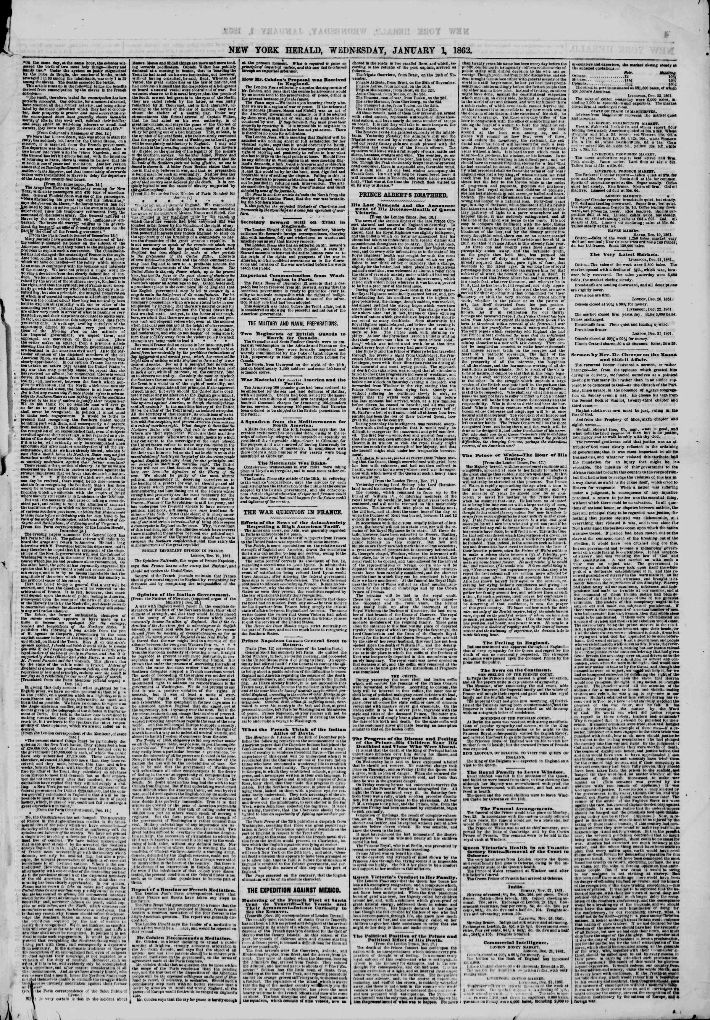 Newspaper of The New York Herald dated January 1, 1862 Page 3