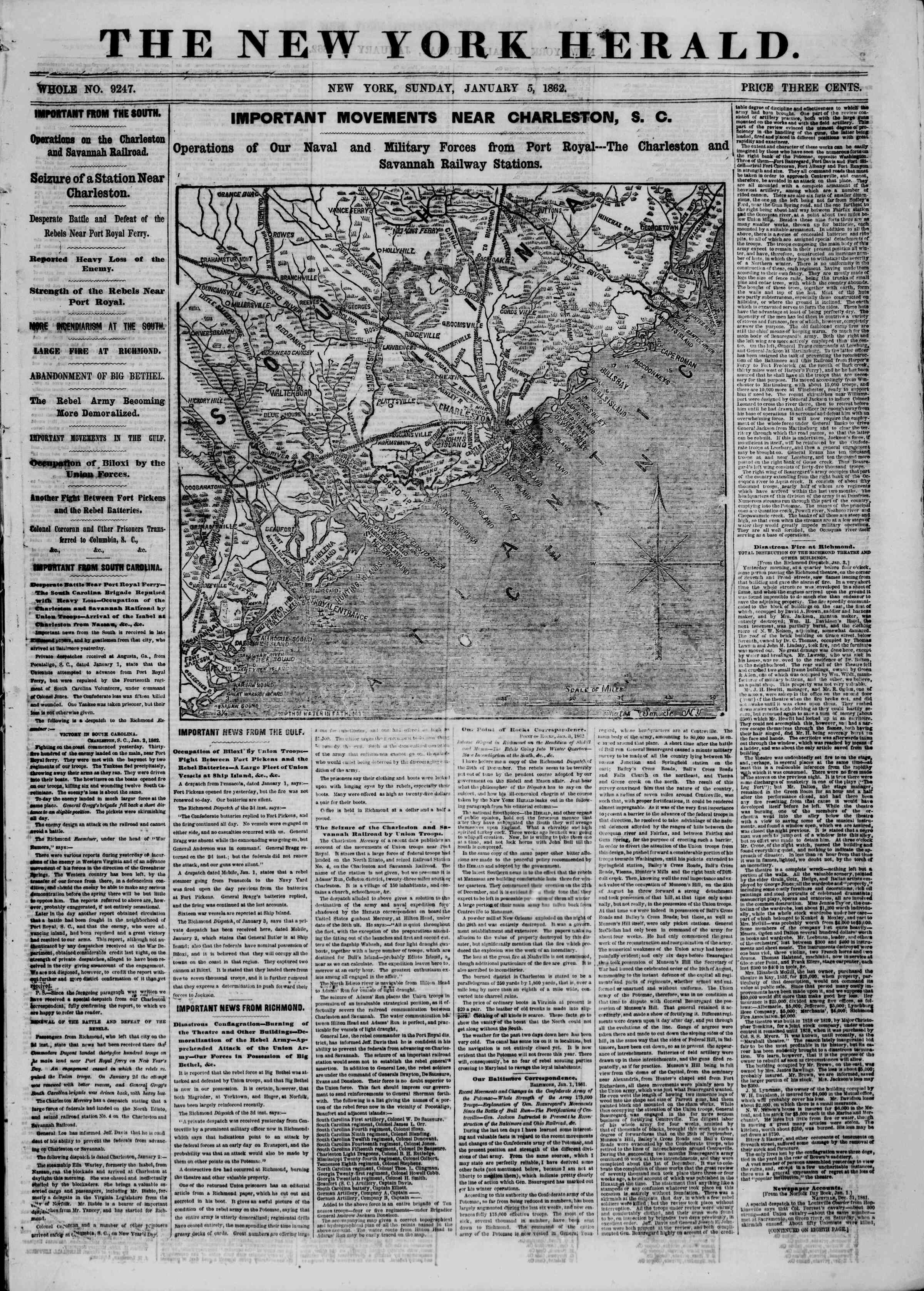 Newspaper of The New York Herald dated January 5, 1862 Page 1