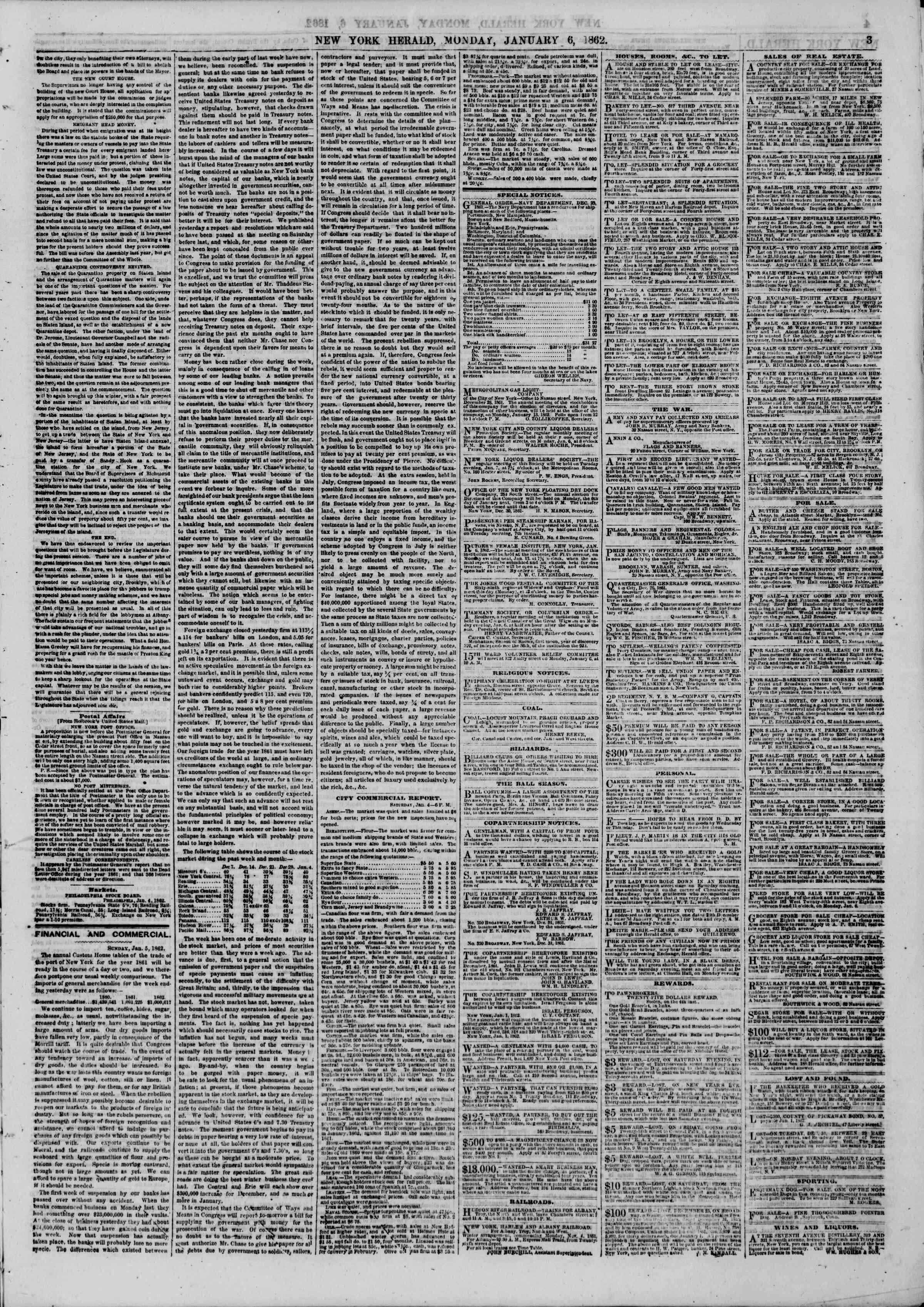 Newspaper of The New York Herald dated January 6, 1862 Page 3