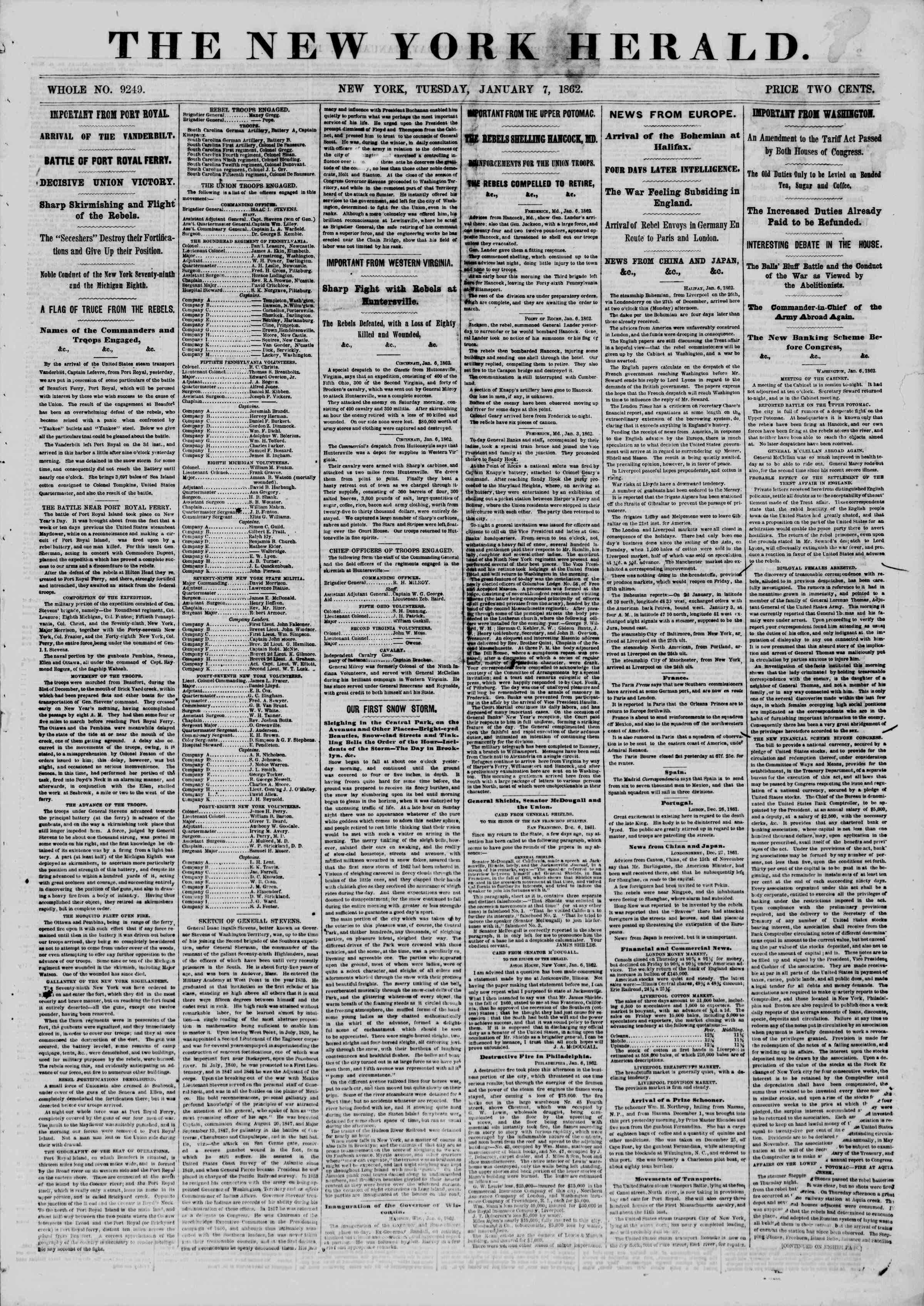 Newspaper of The New York Herald dated January 7, 1862 Page 1