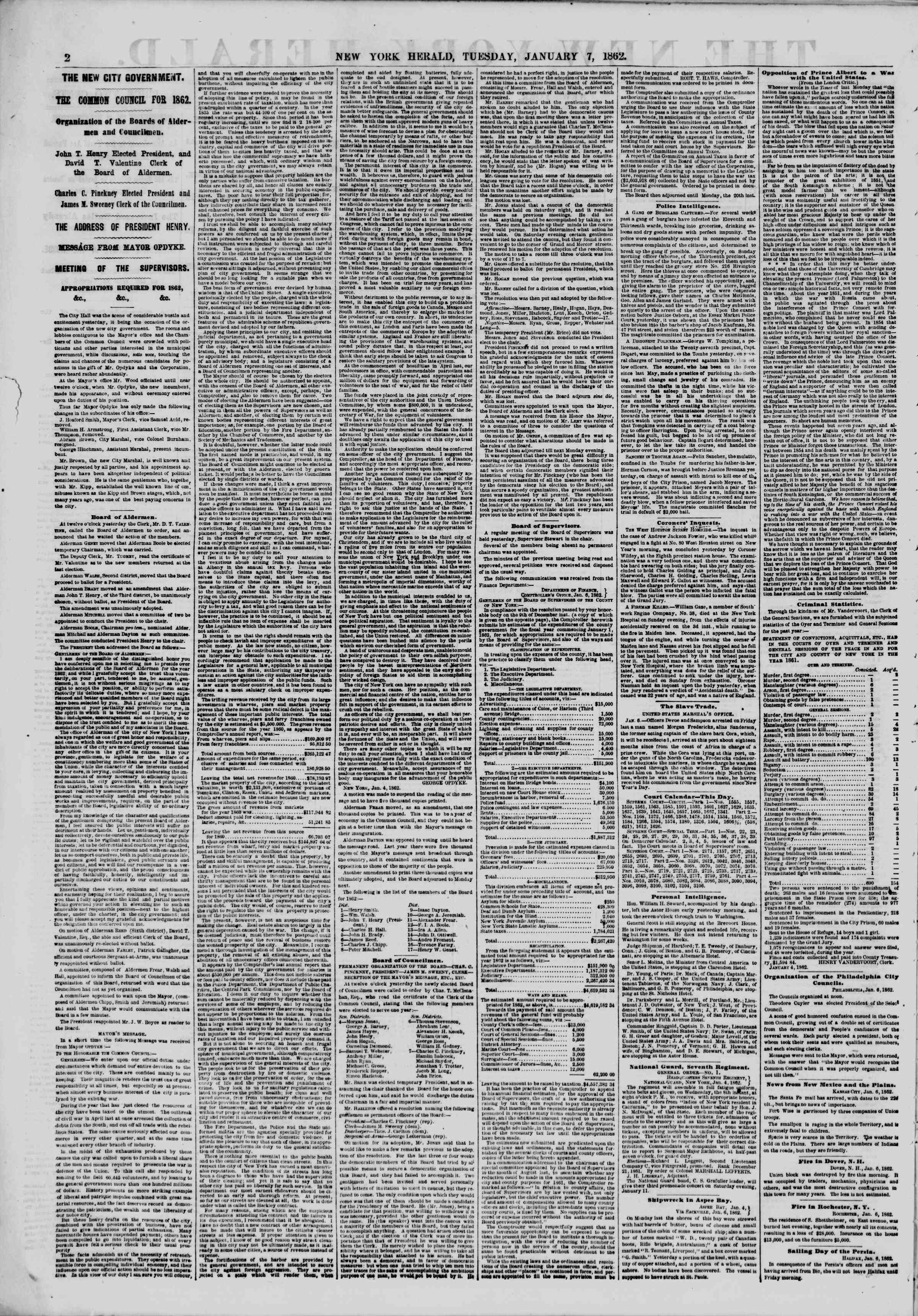 Newspaper of The New York Herald dated January 7, 1862 Page 2