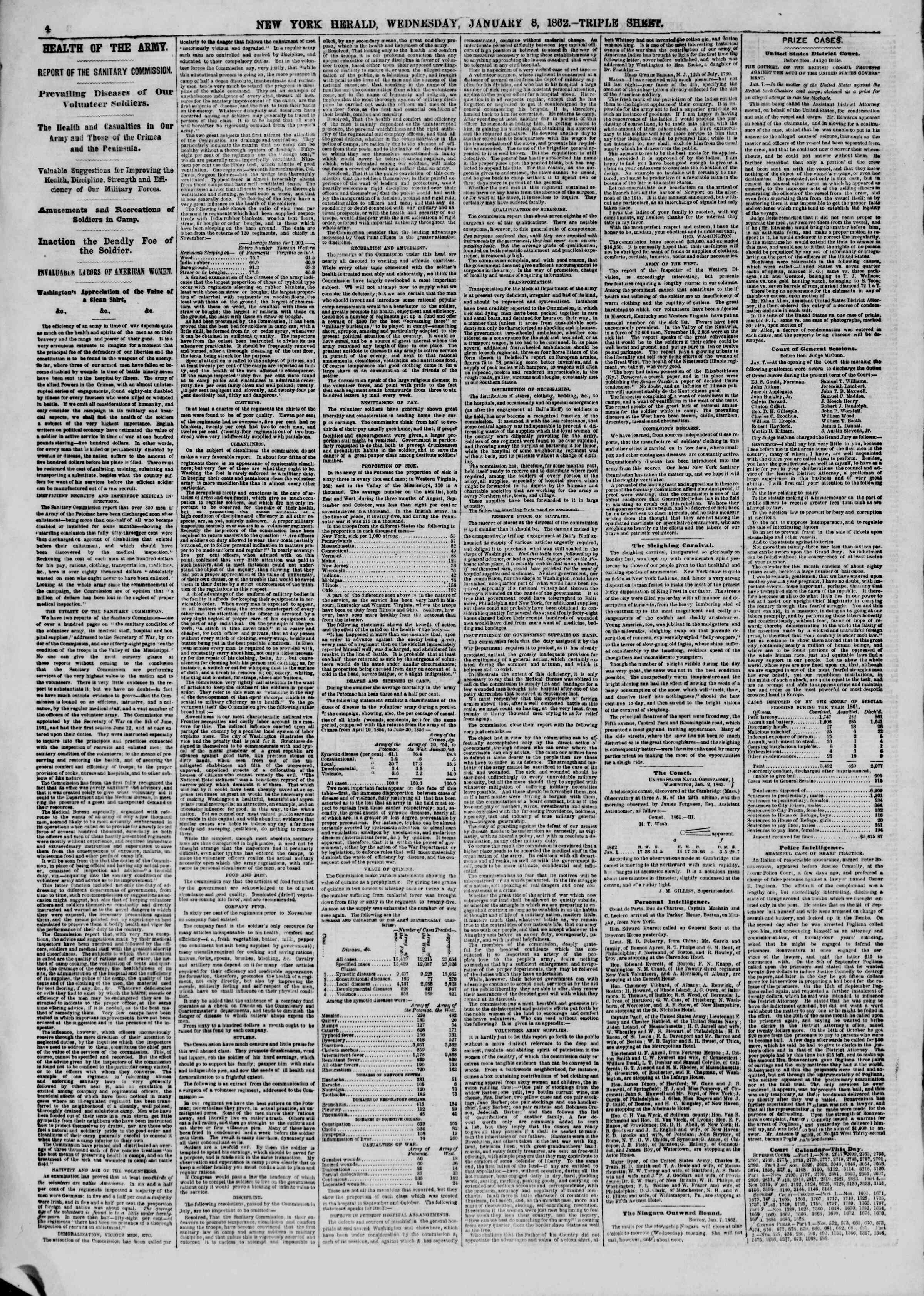 Newspaper of The New York Herald dated January 8, 1862 Page 4