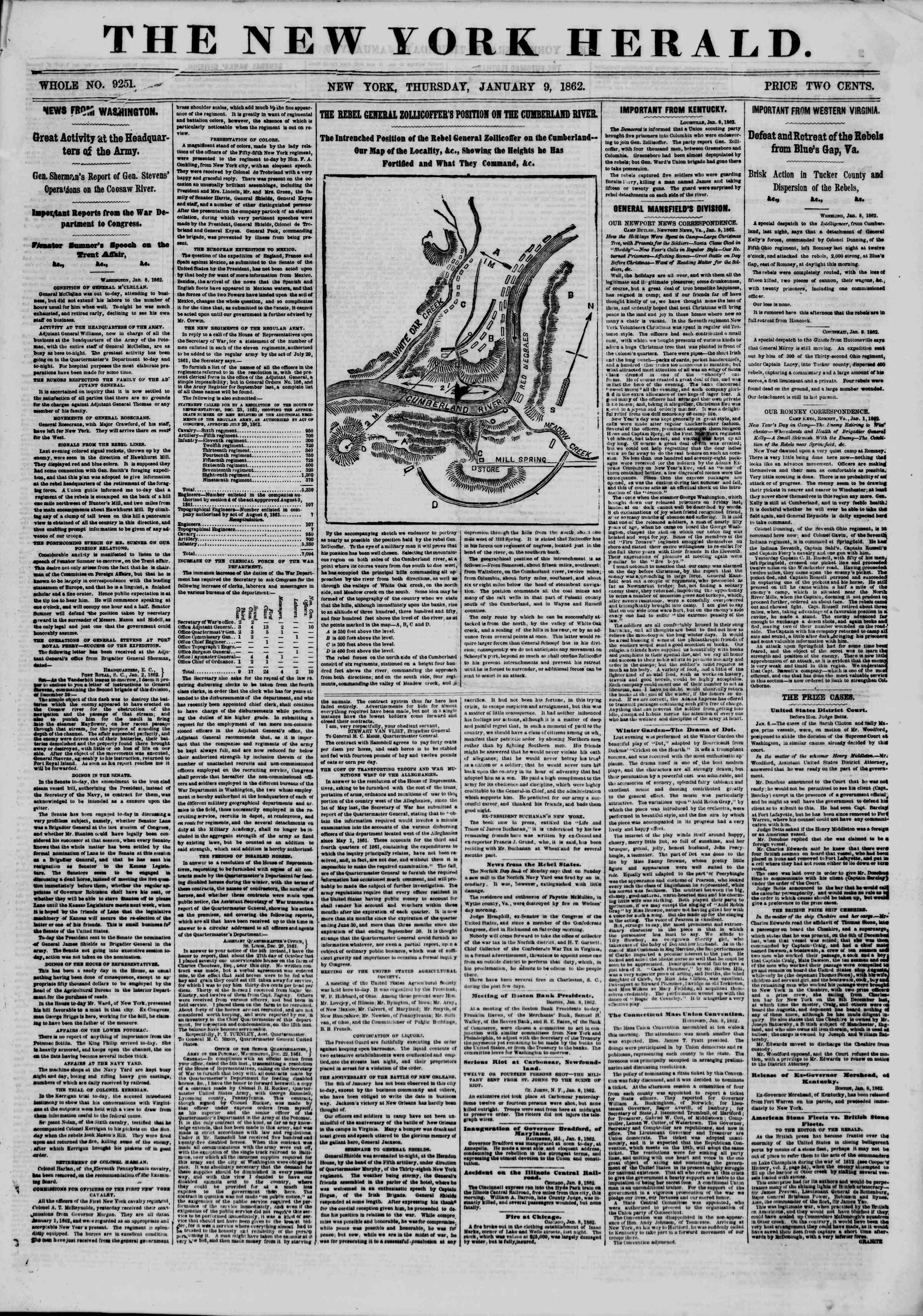 Newspaper of The New York Herald dated January 9, 1862 Page 1