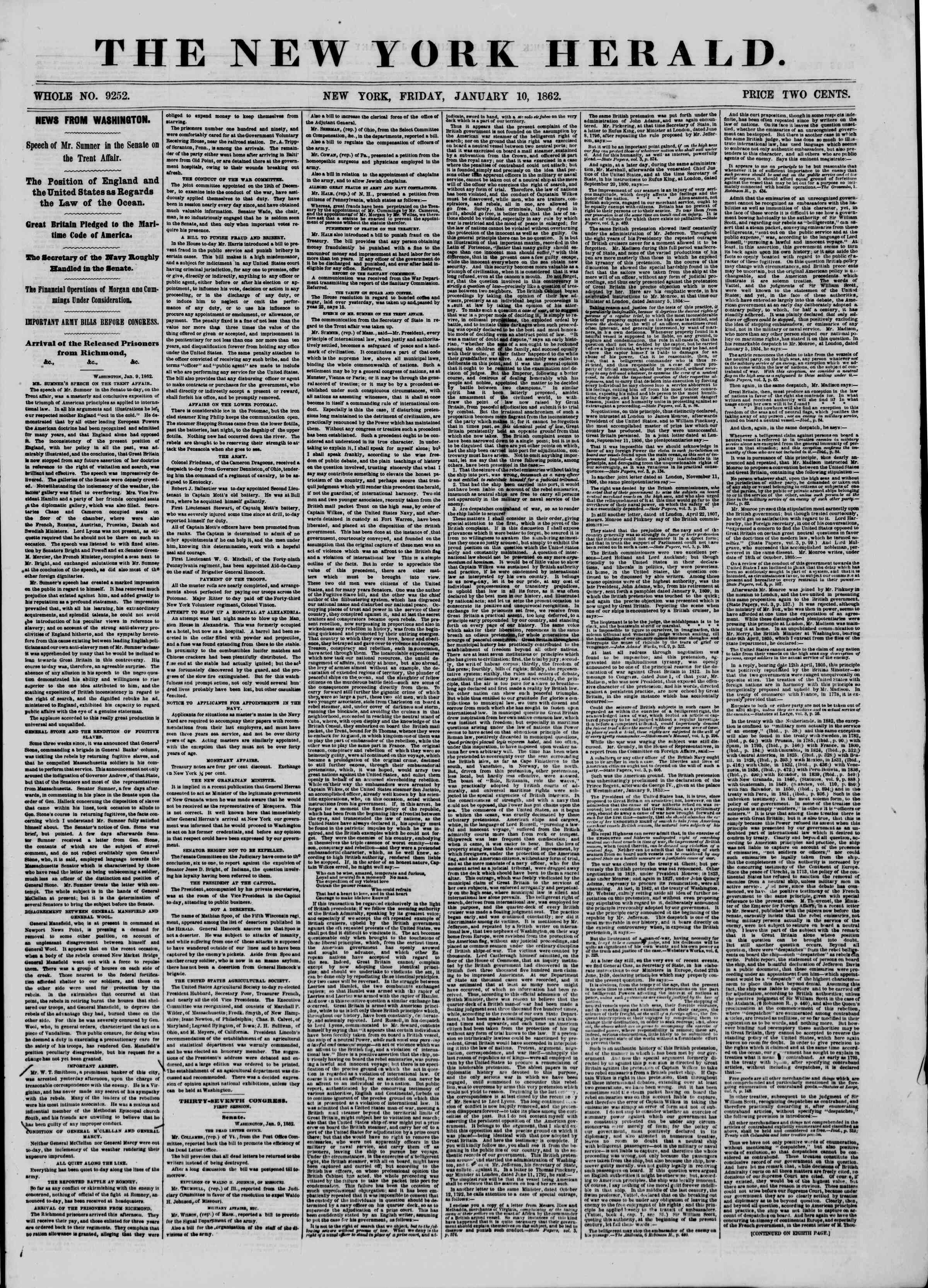 Newspaper of The New York Herald dated January 10, 1862 Page 1