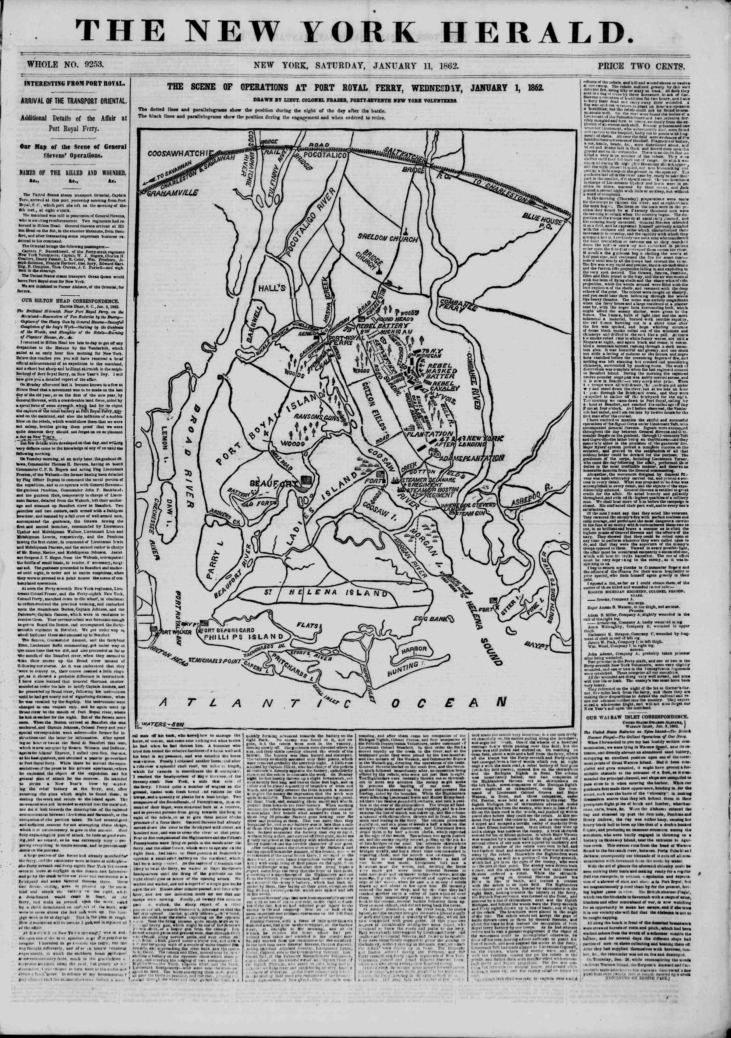 Newspaper of The New York Herald dated January 11, 1862 Page 1