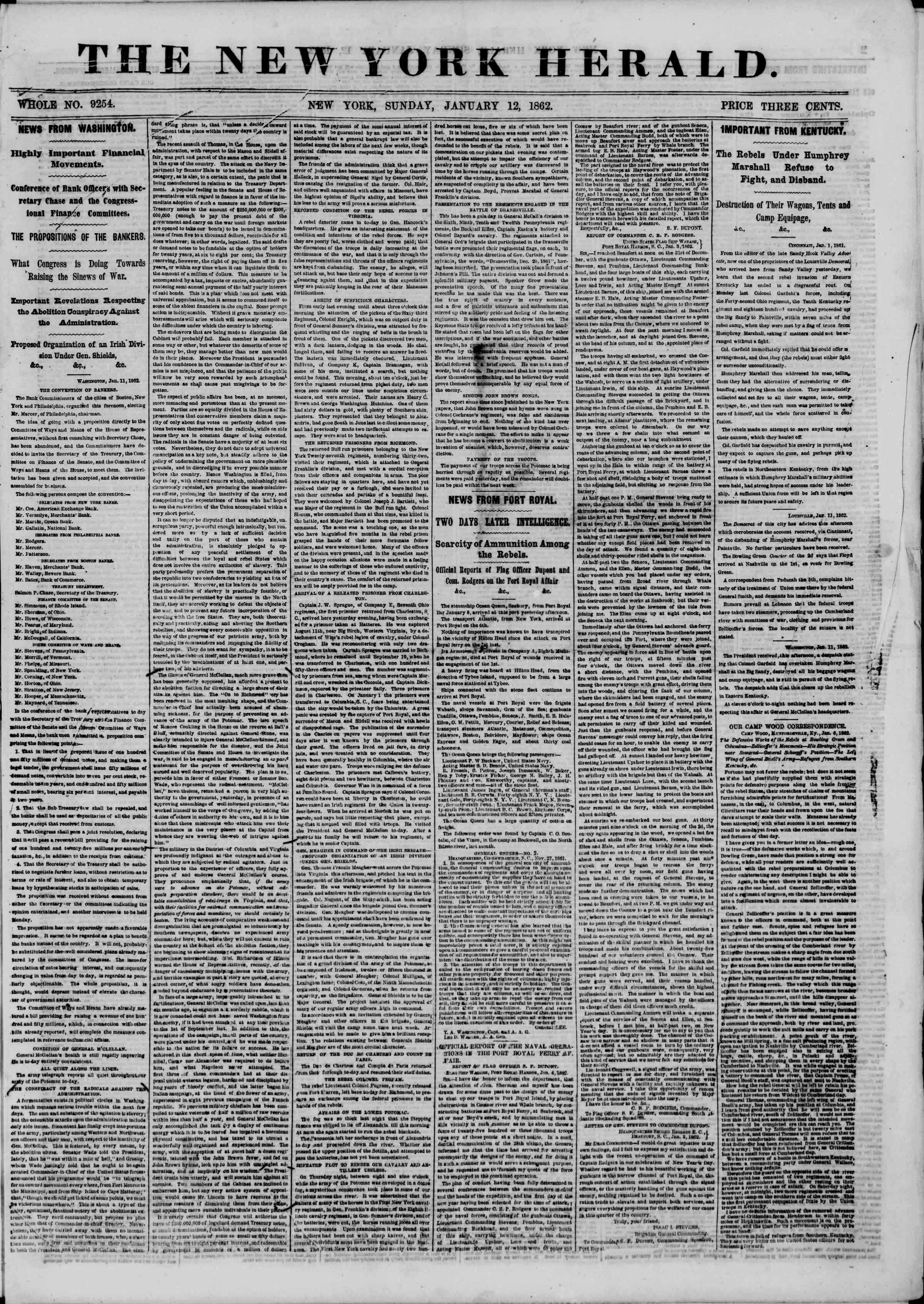 Newspaper of The New York Herald dated January 12, 1862 Page 1
