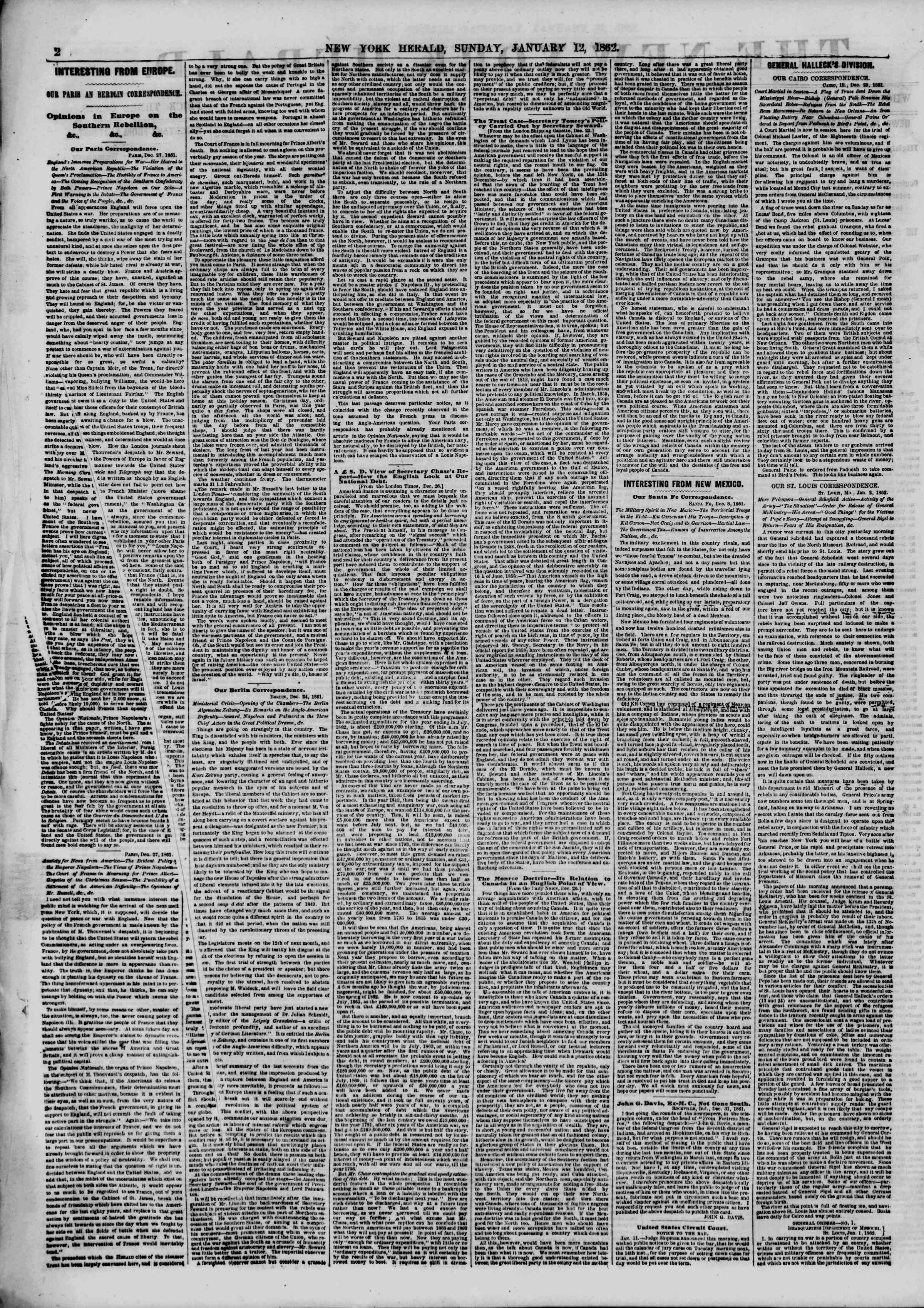 Newspaper of The New York Herald dated January 12, 1862 Page 2