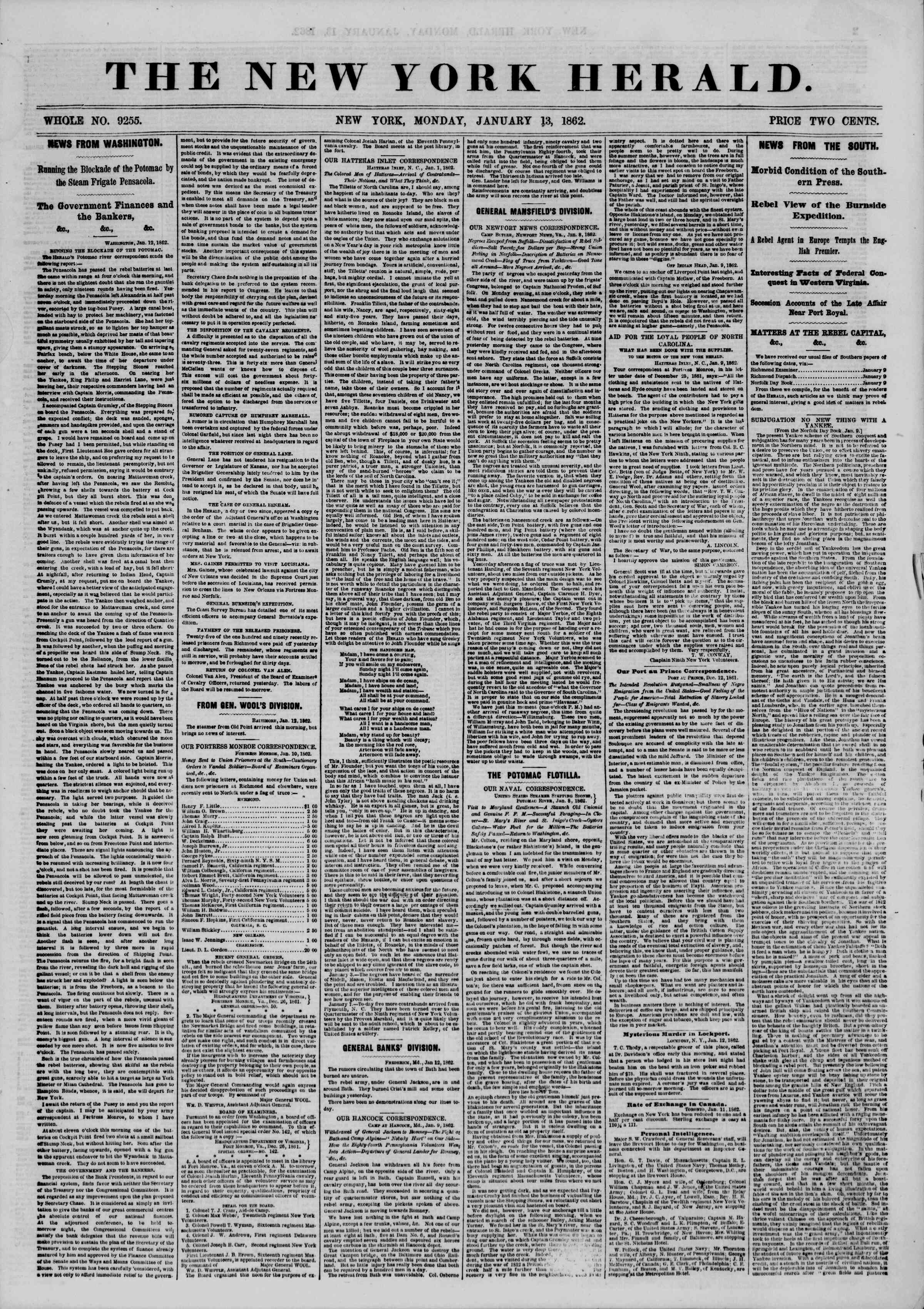 Newspaper of The New York Herald dated January 13, 1862 Page 1