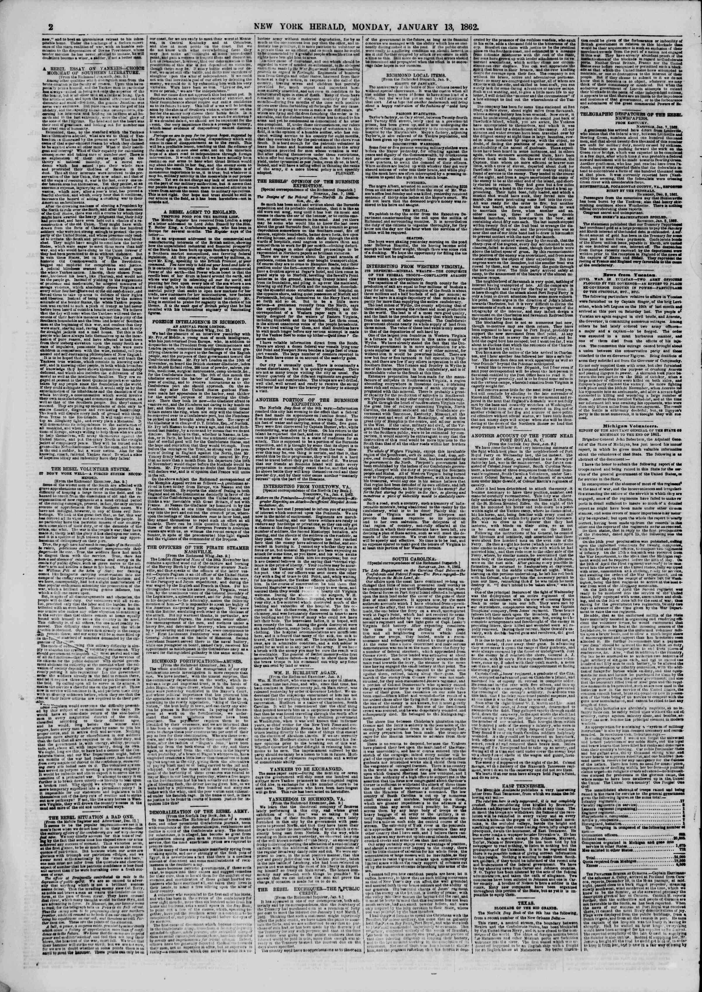 Newspaper of The New York Herald dated January 13, 1862 Page 2