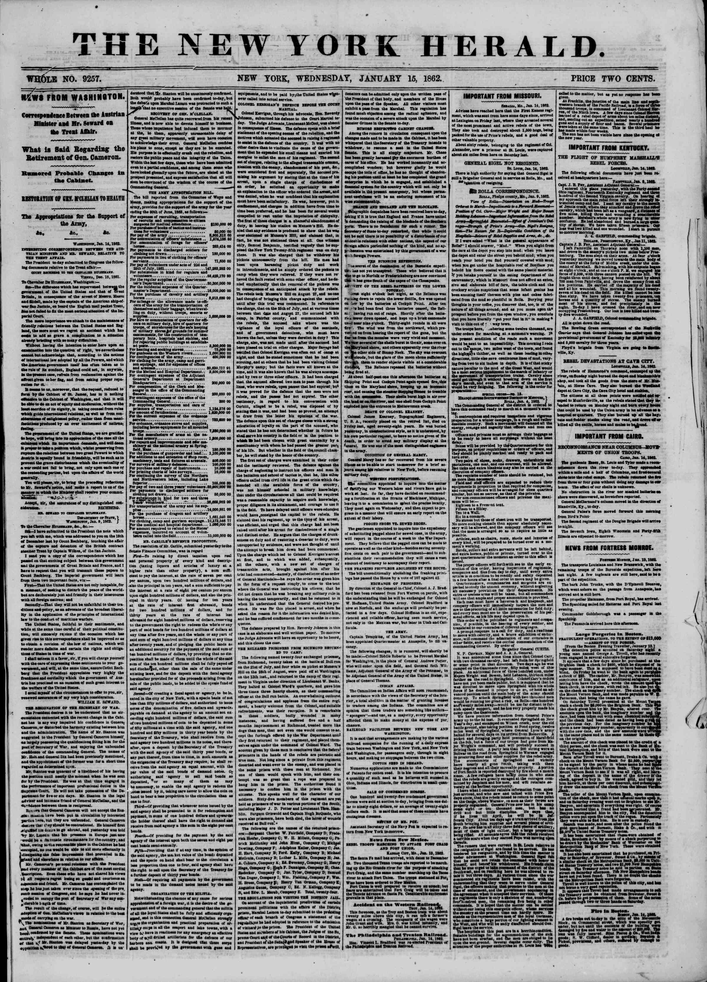 Newspaper of The New York Herald dated January 15, 1862 Page 1