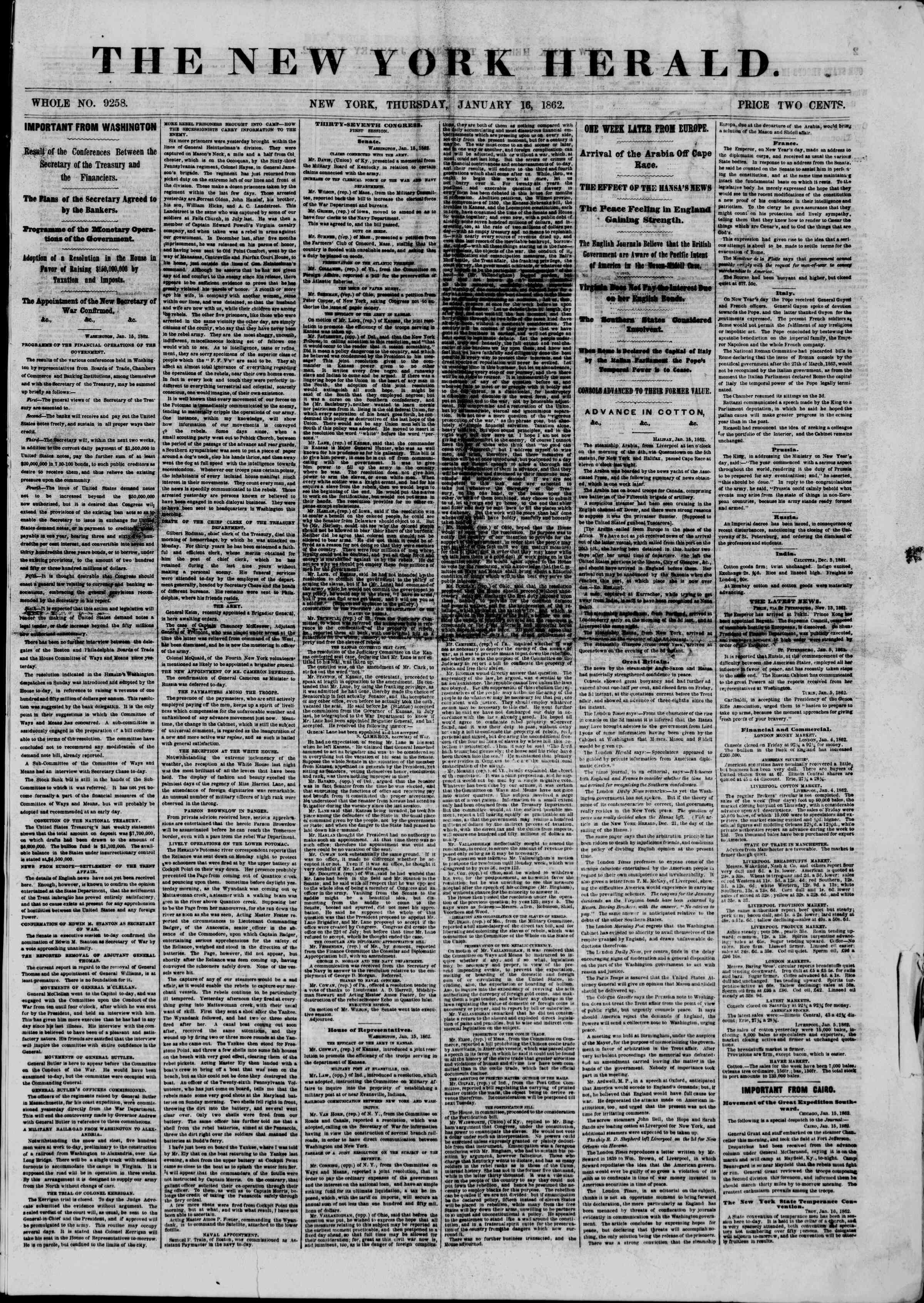 16 Ocak 1862 tarihli The New York Herald Gazetesi Sayfa 1