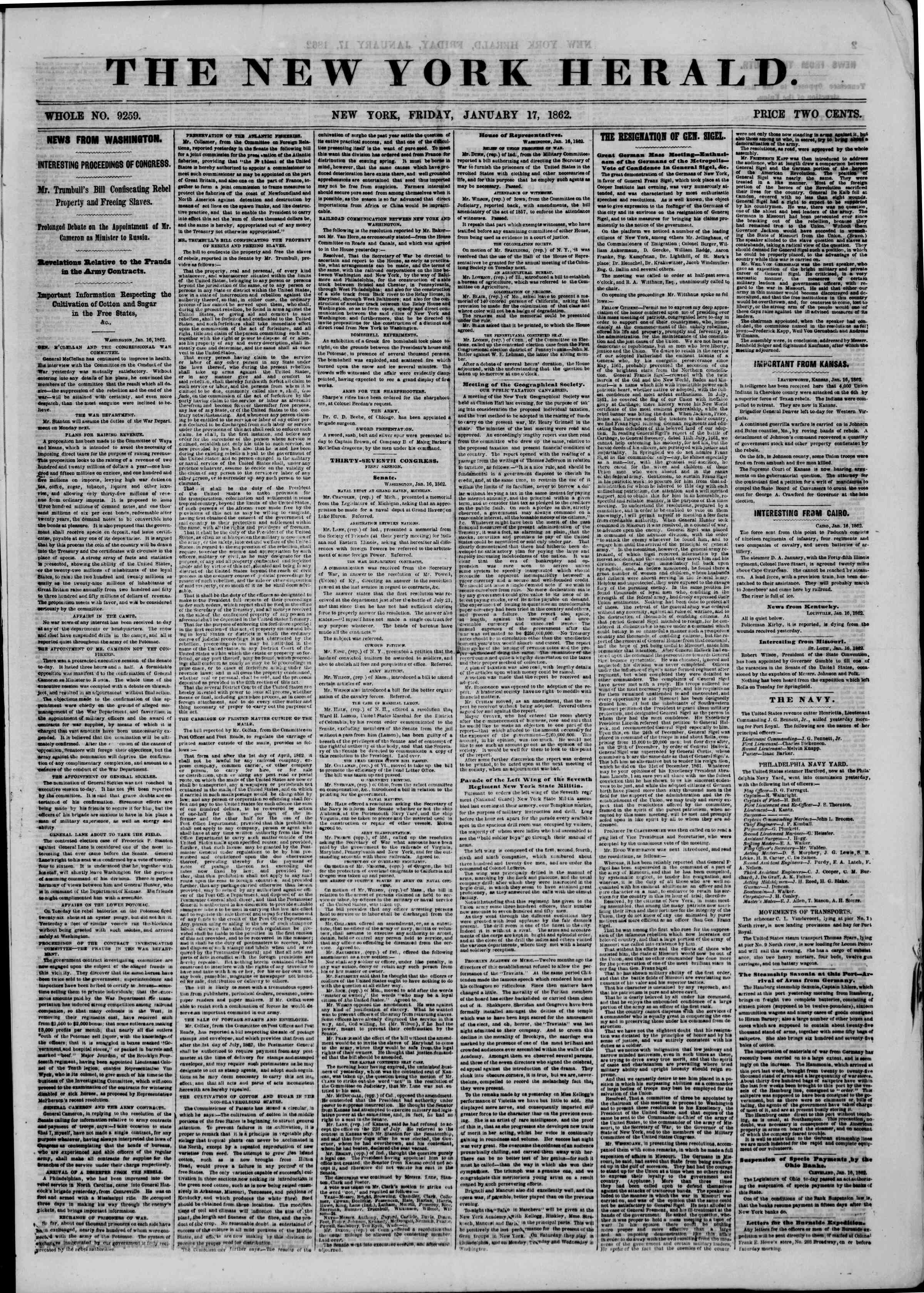 Newspaper of The New York Herald dated January 17, 1862 Page 1