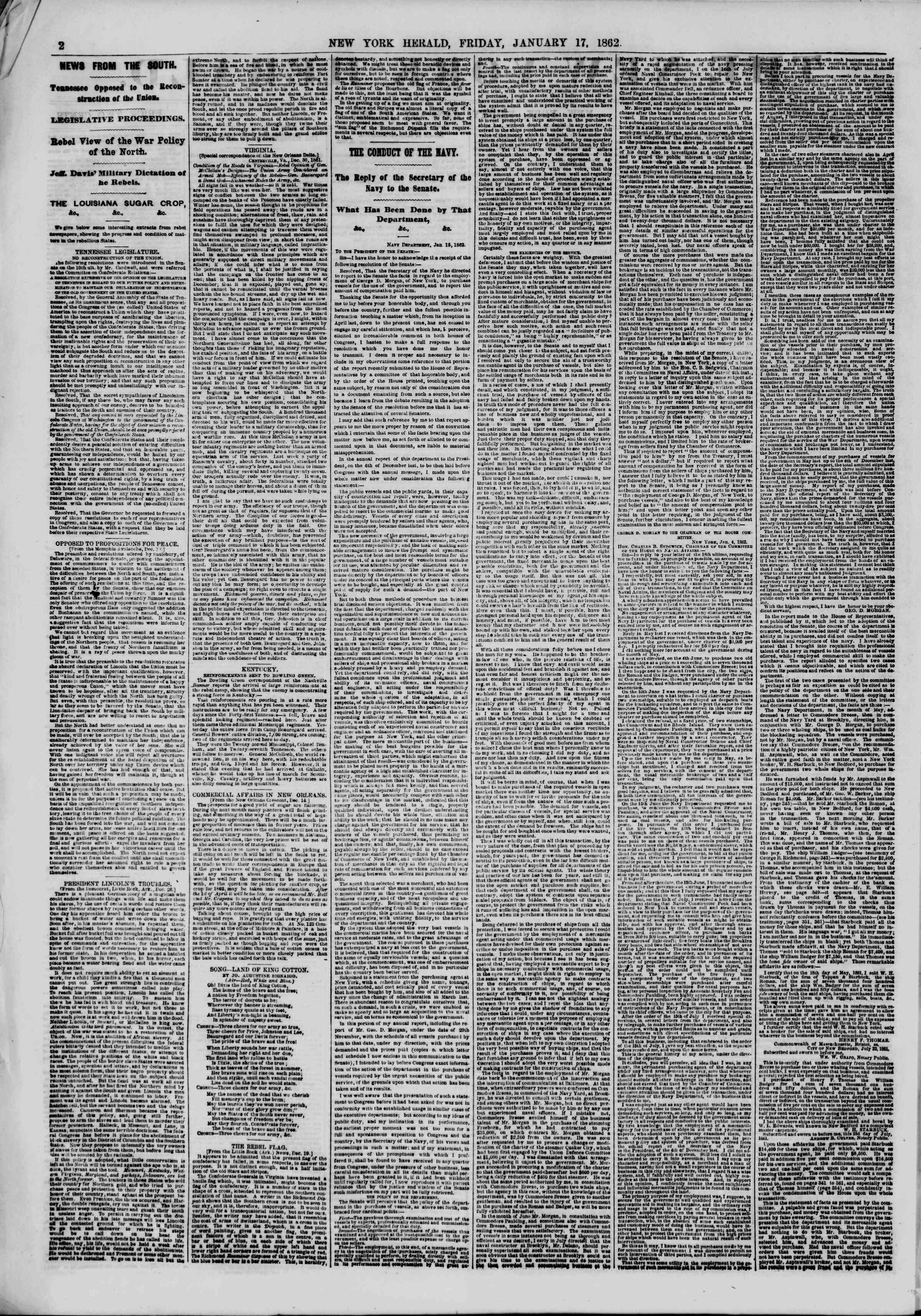 Newspaper of The New York Herald dated January 17, 1862 Page 2