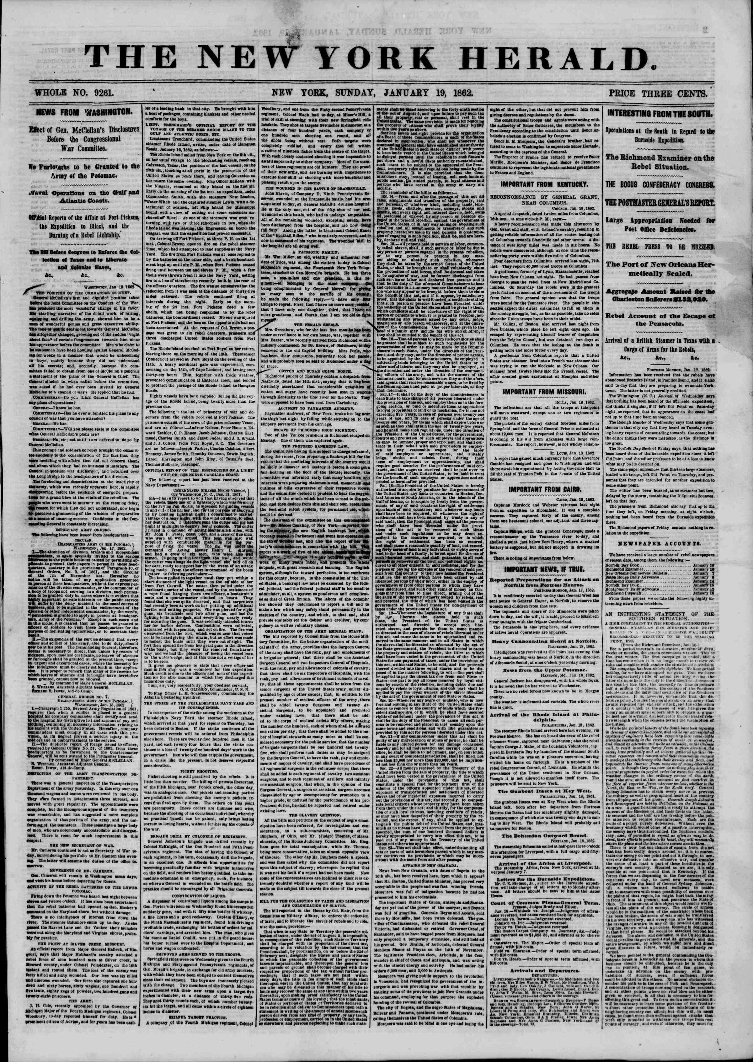 19 Ocak 1862 tarihli The New York Herald Gazetesi Sayfa 1