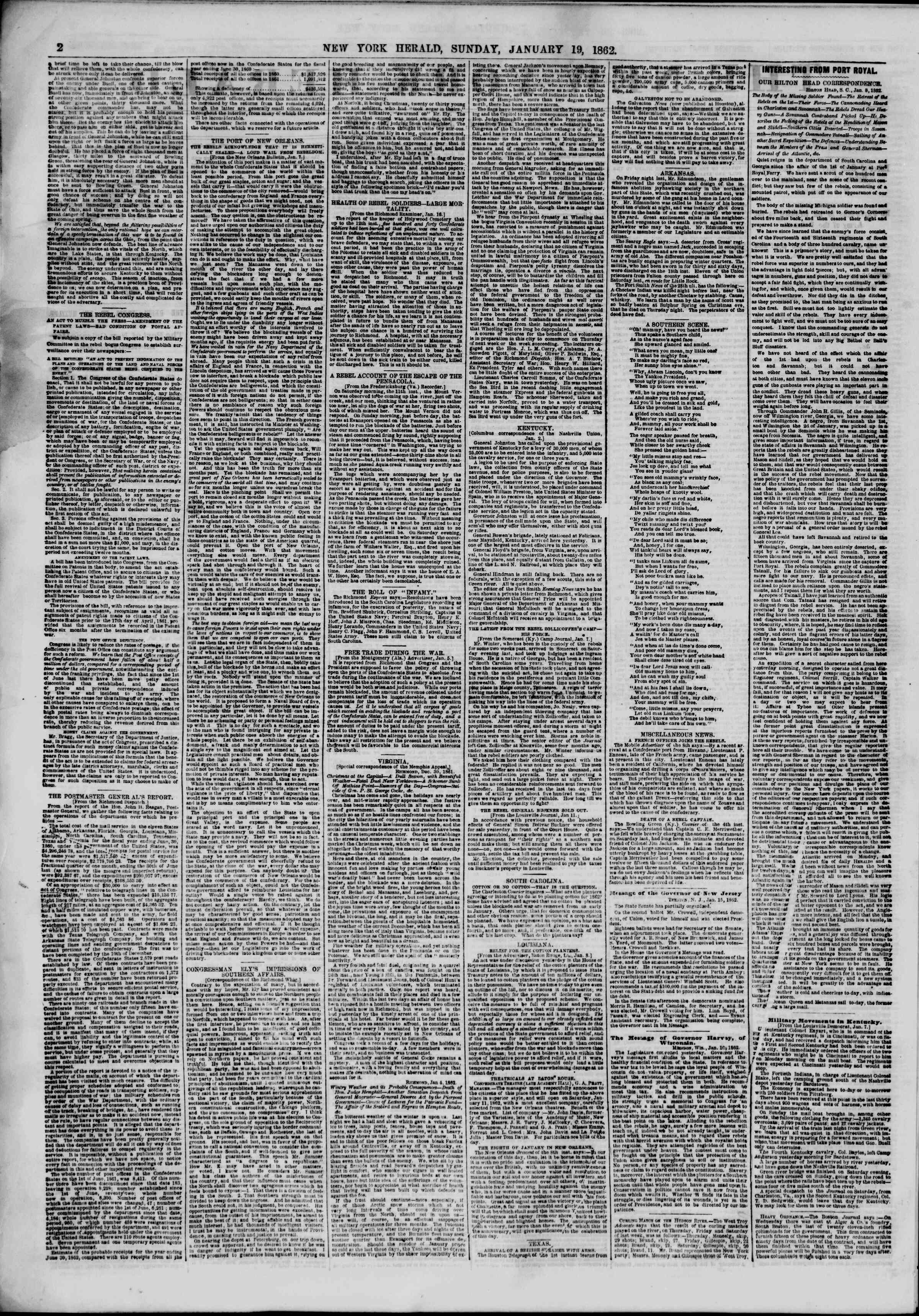 Newspaper of The New York Herald dated January 19, 1862 Page 2