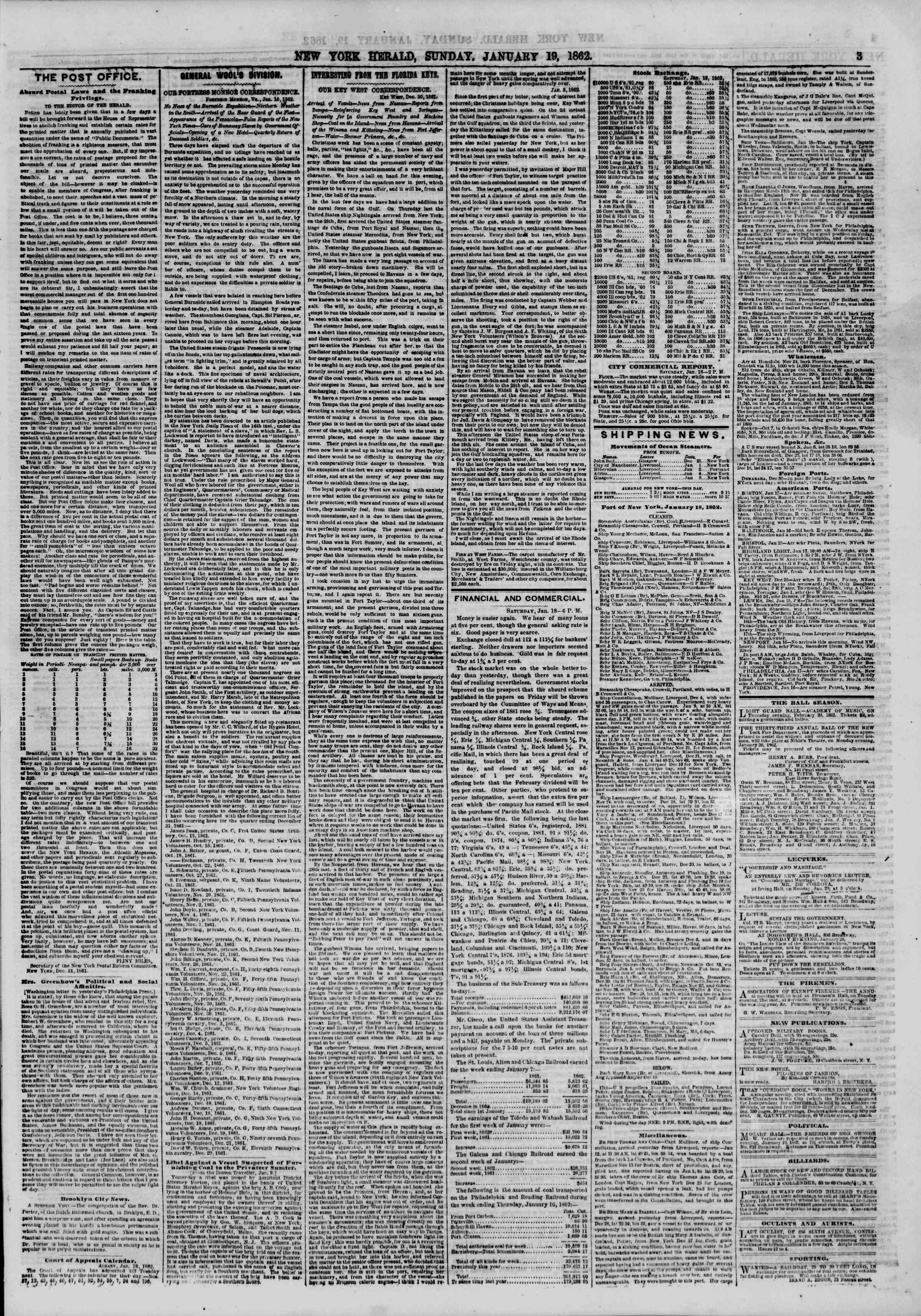 Newspaper of The New York Herald dated January 19, 1862 Page 3