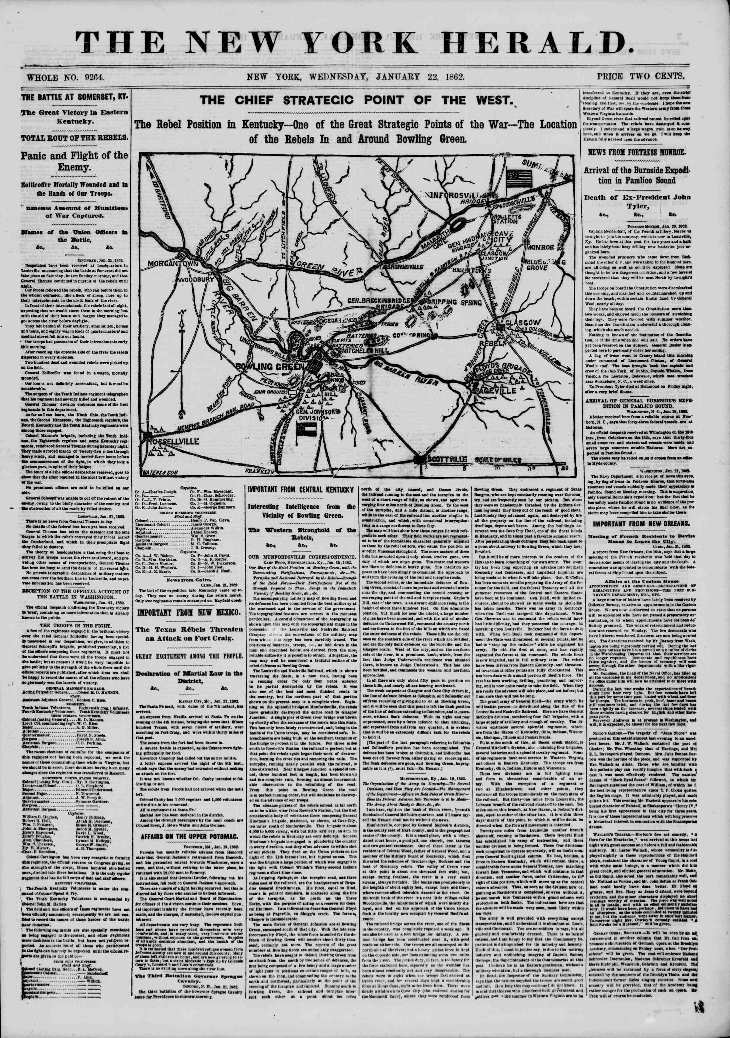 22 Ocak 1862 tarihli The New York Herald Gazetesi Sayfa 1
