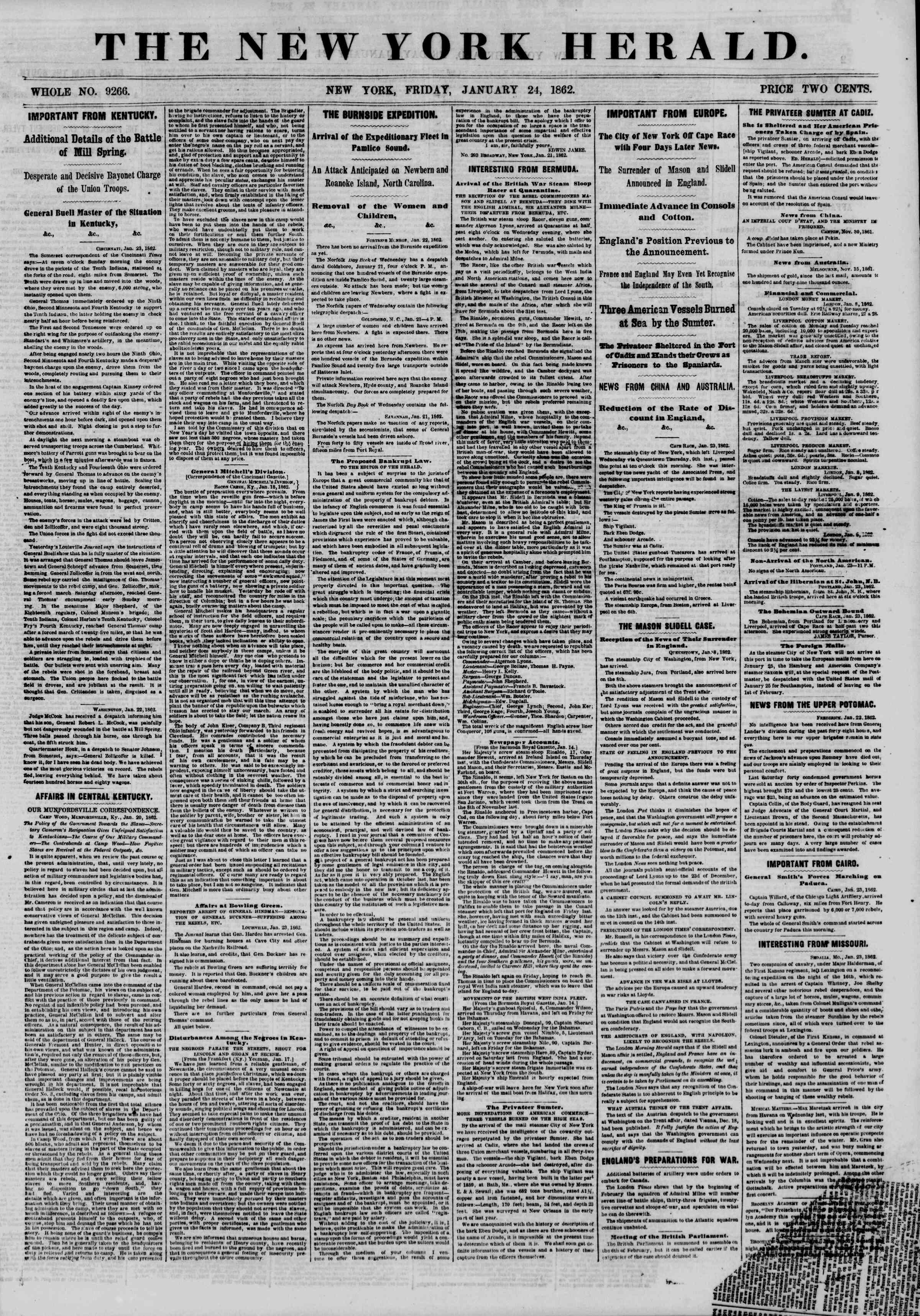 Newspaper of The New York Herald dated January 24, 1862 Page 1