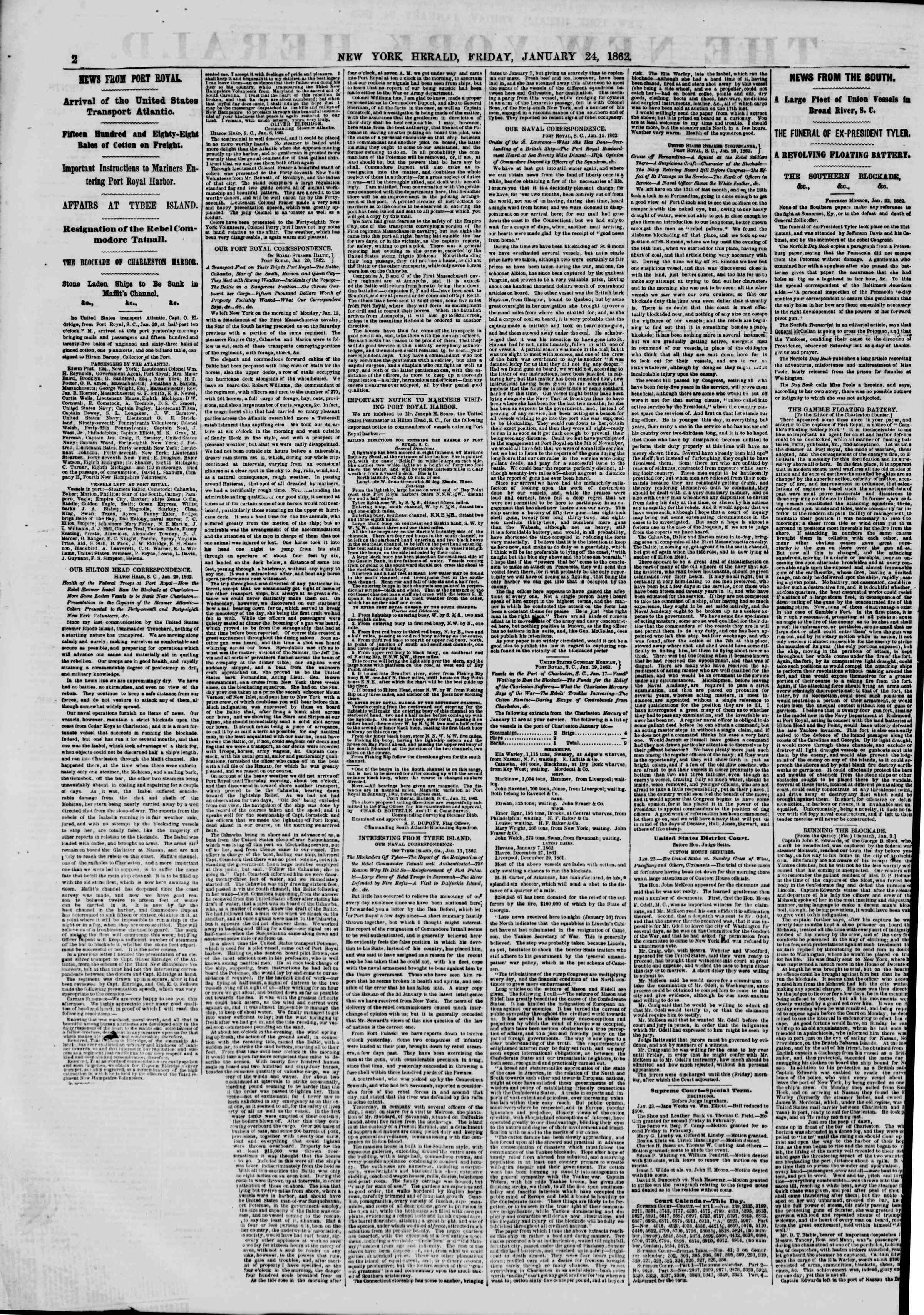 Newspaper of The New York Herald dated January 24, 1862 Page 2