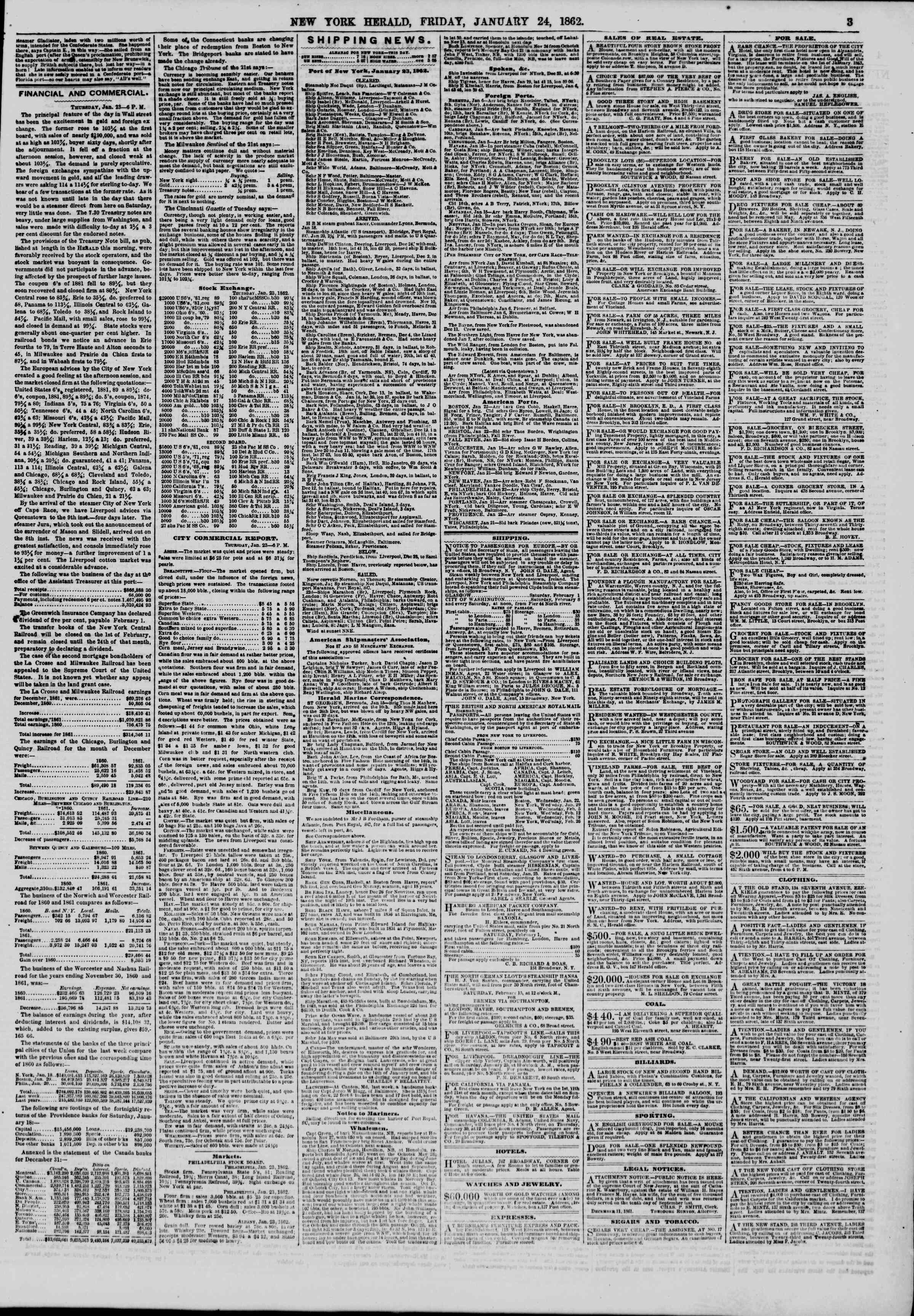Newspaper of The New York Herald dated January 24, 1862 Page 3