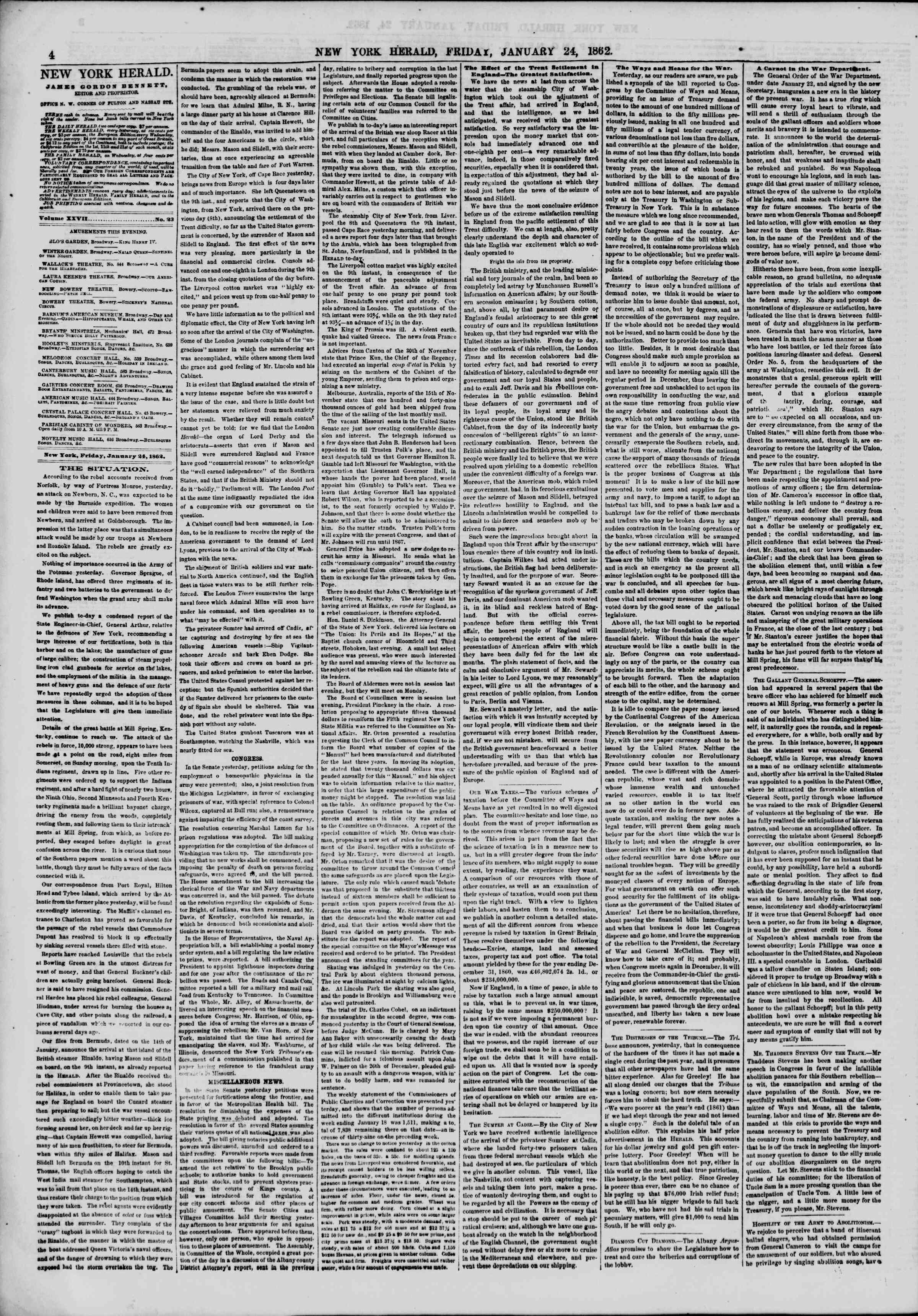 Newspaper of The New York Herald dated January 24, 1862 Page 4