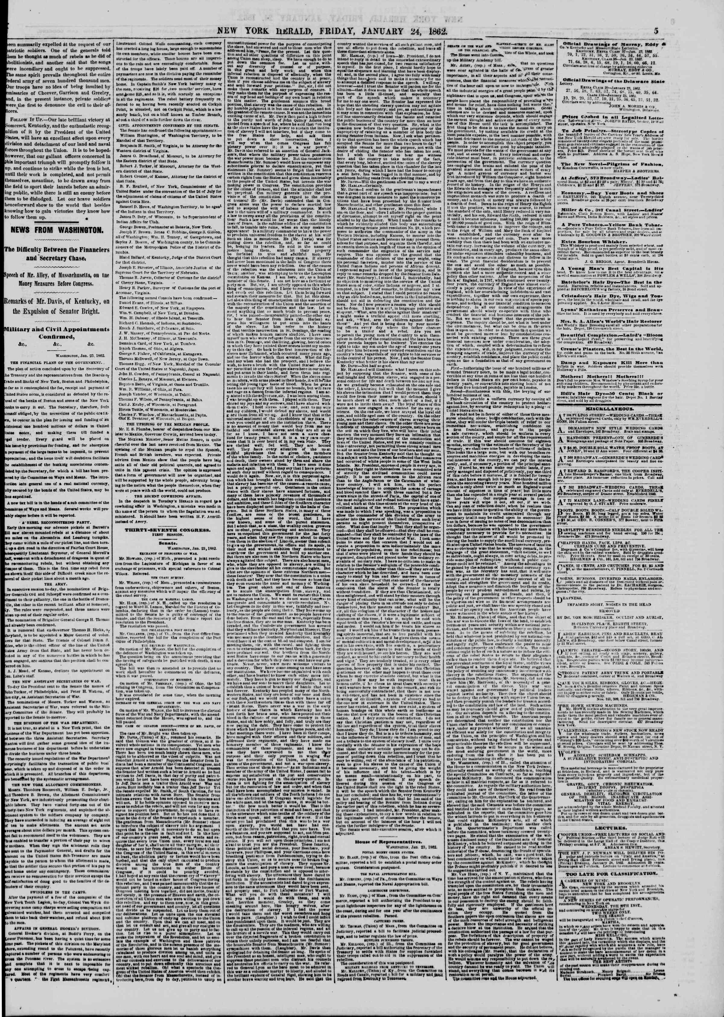 Newspaper of The New York Herald dated January 24, 1862 Page 5