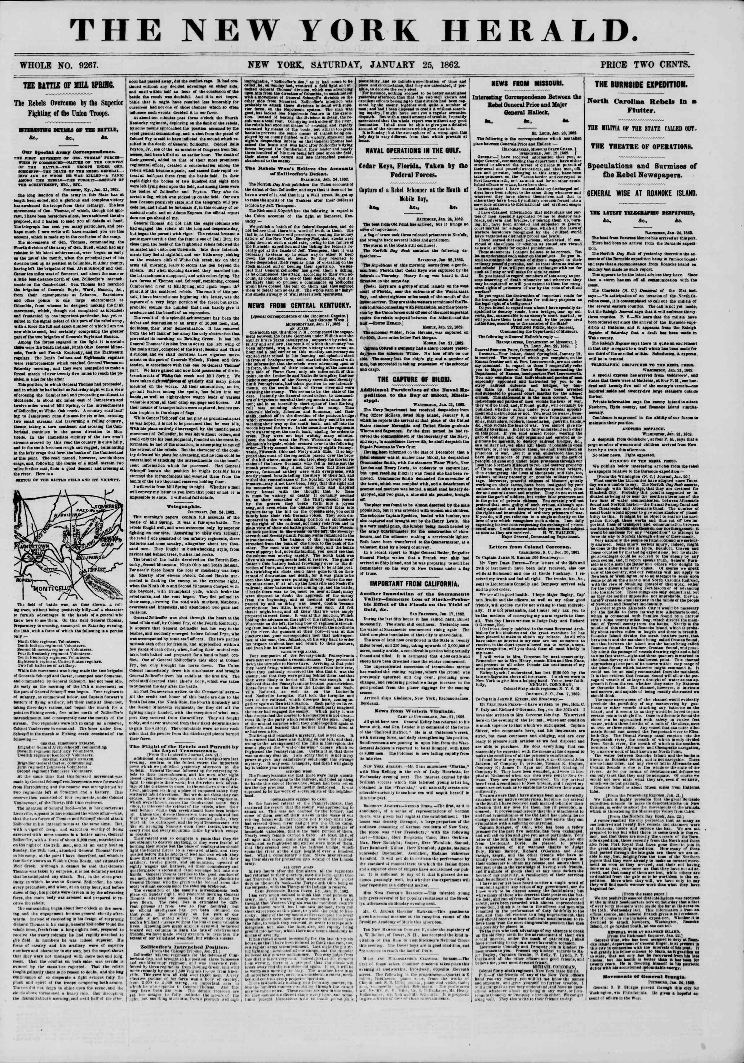 Newspaper of The New York Herald dated January 25, 1862 Page 1
