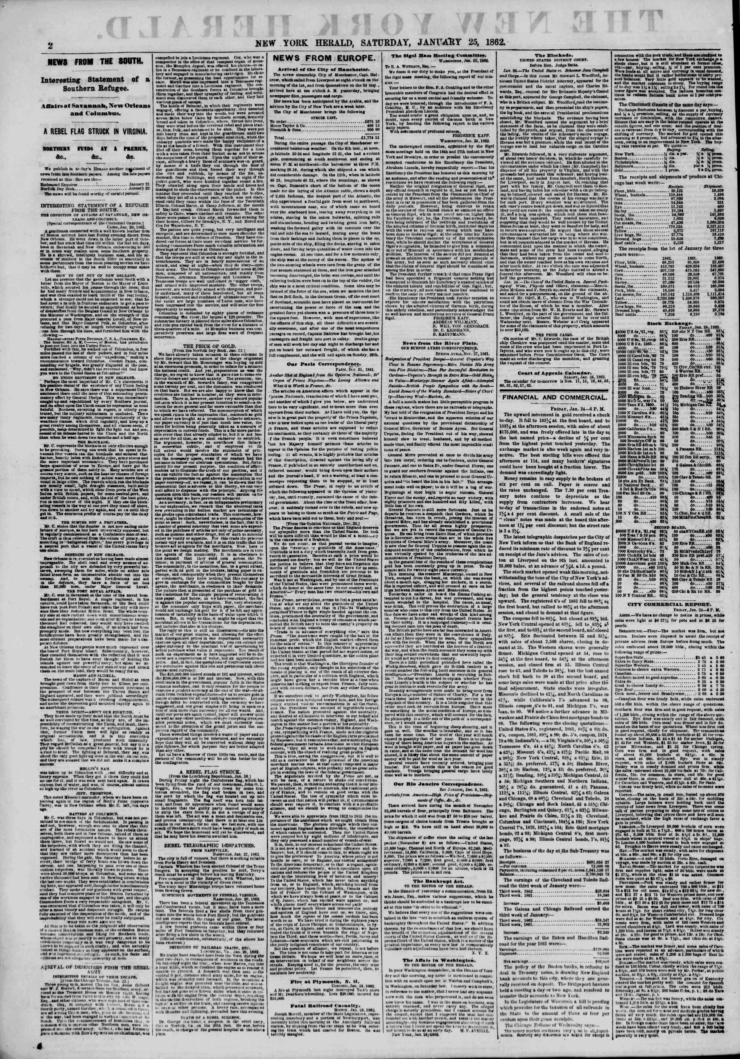 Newspaper of The New York Herald dated January 25, 1862 Page 2