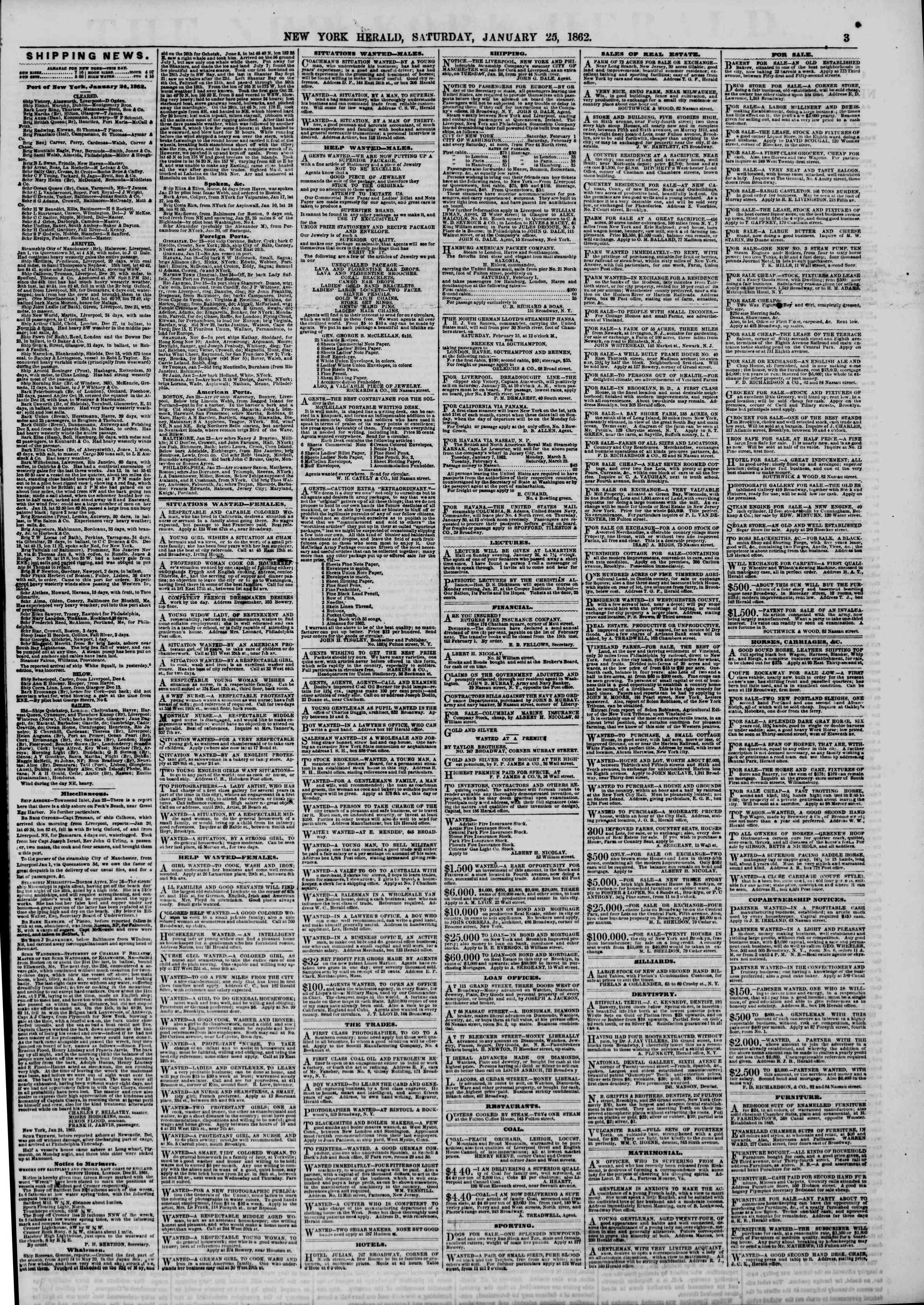 Newspaper of The New York Herald dated January 25, 1862 Page 3