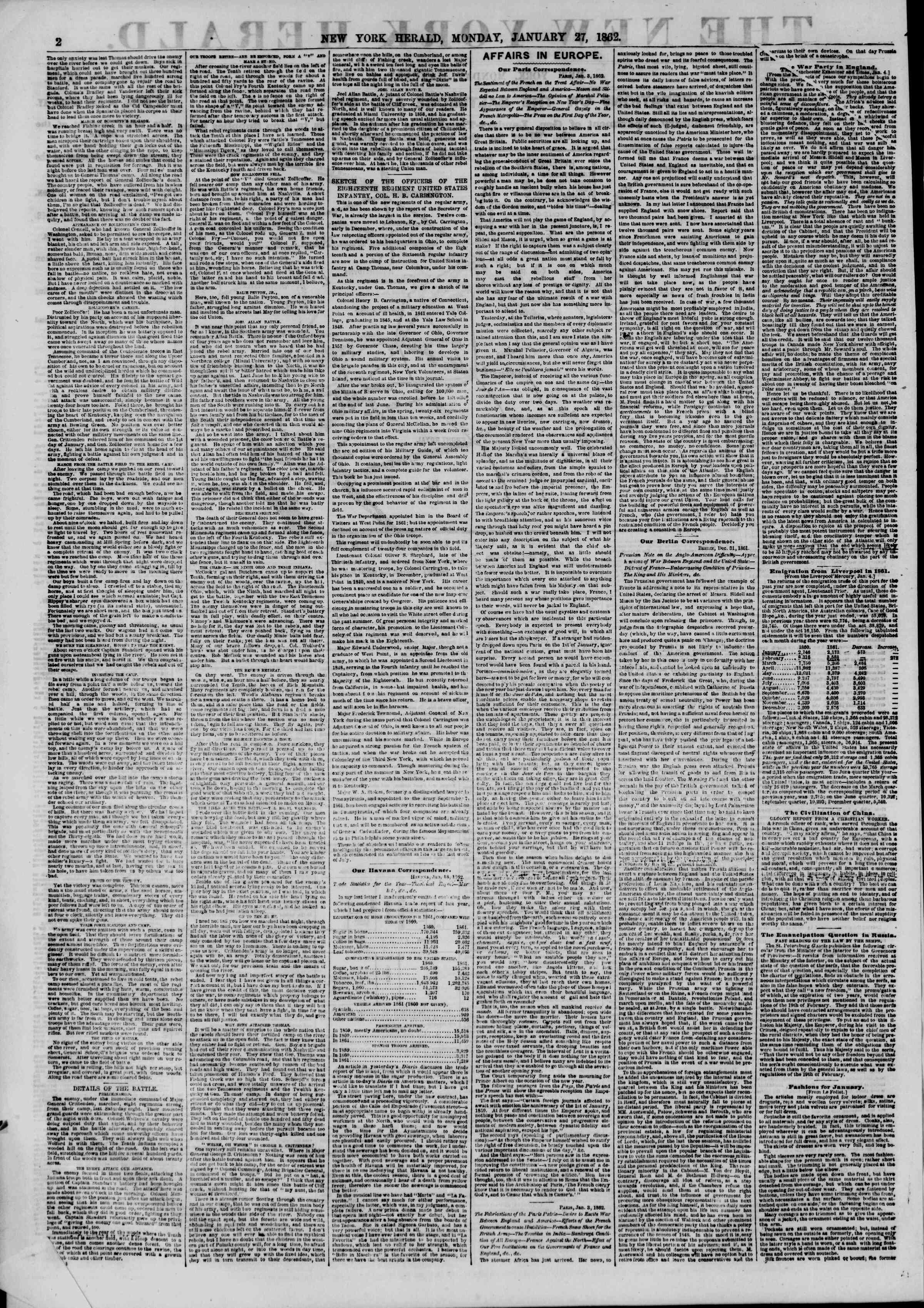Newspaper of The New York Herald dated January 27, 1862 Page 2
